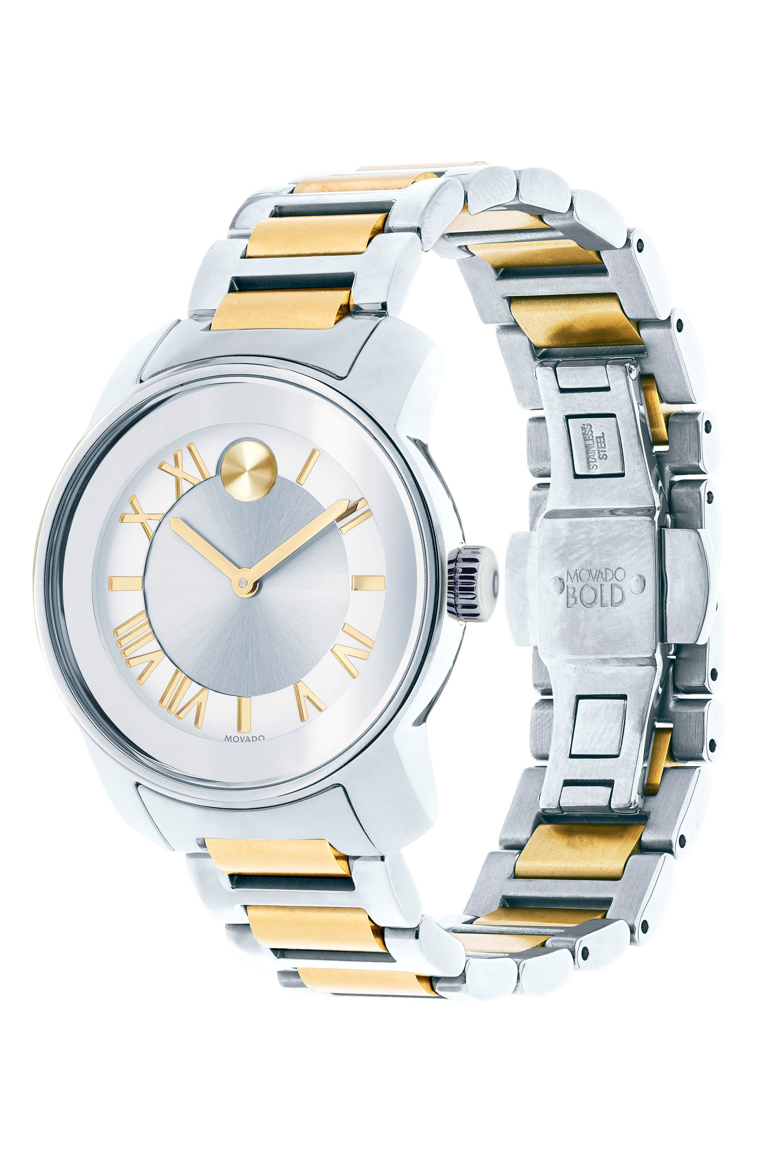 'Bold' Two-Tone Bracelet Watch, 32mm,                             Alternate thumbnail 3, color,                             SILVER/ GOLD
