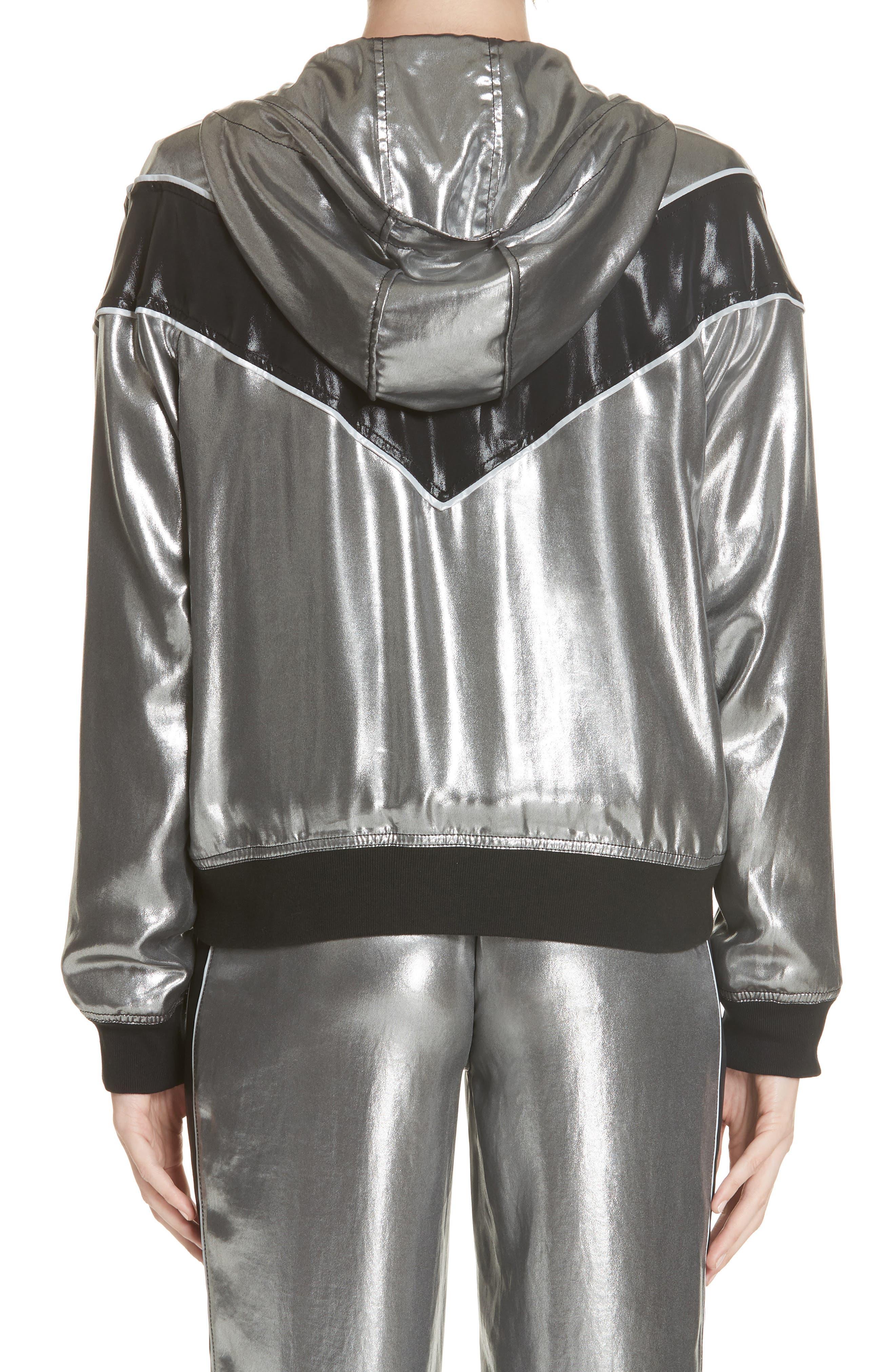 RAG & BONE,                             Sloane Metallic Track Jacket,                             Alternate thumbnail 2, color,                             SILVER/ BLACK