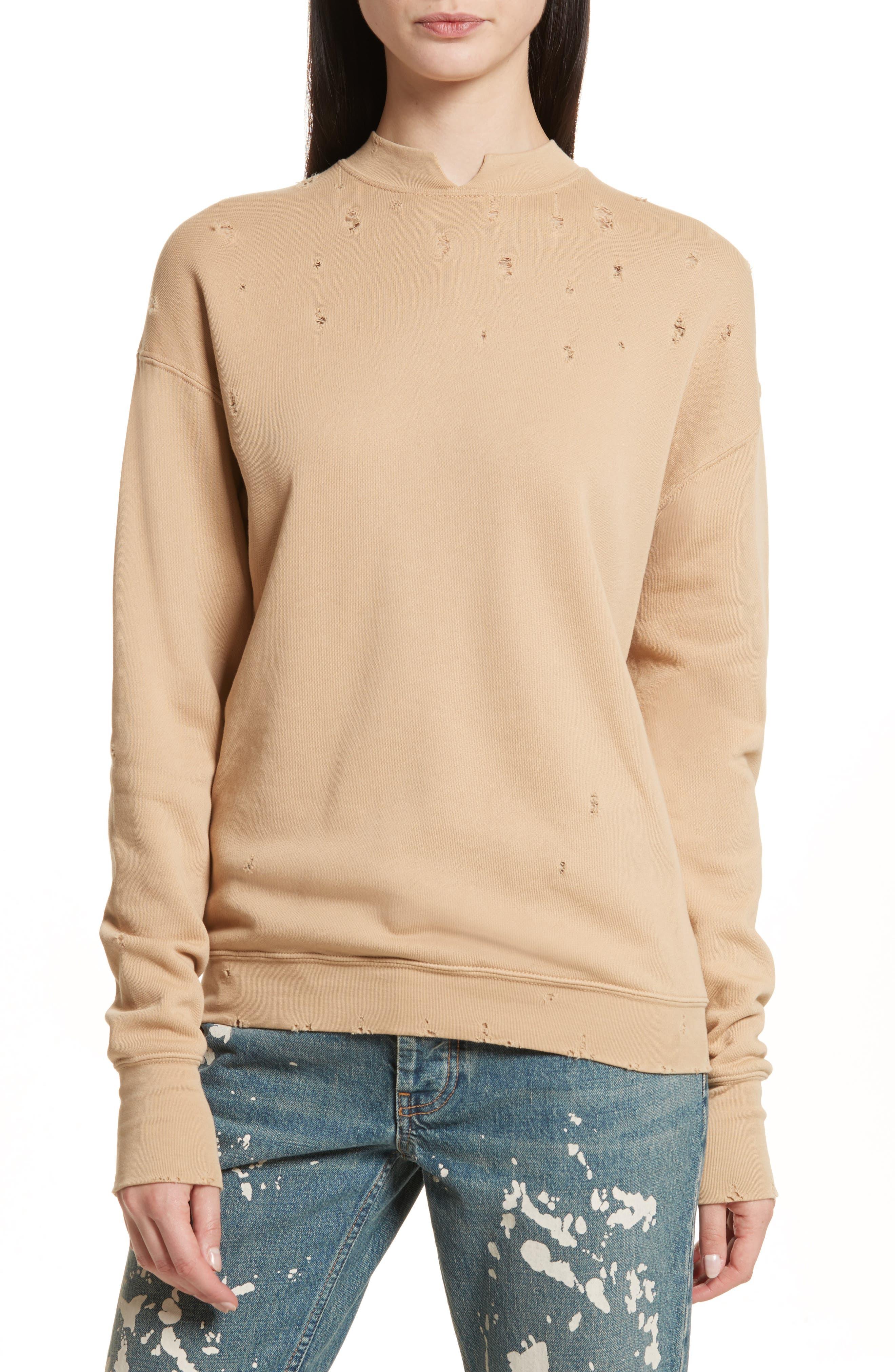 Slash Neck Destroyed Sweatshirt,                             Main thumbnail 1, color,                             291