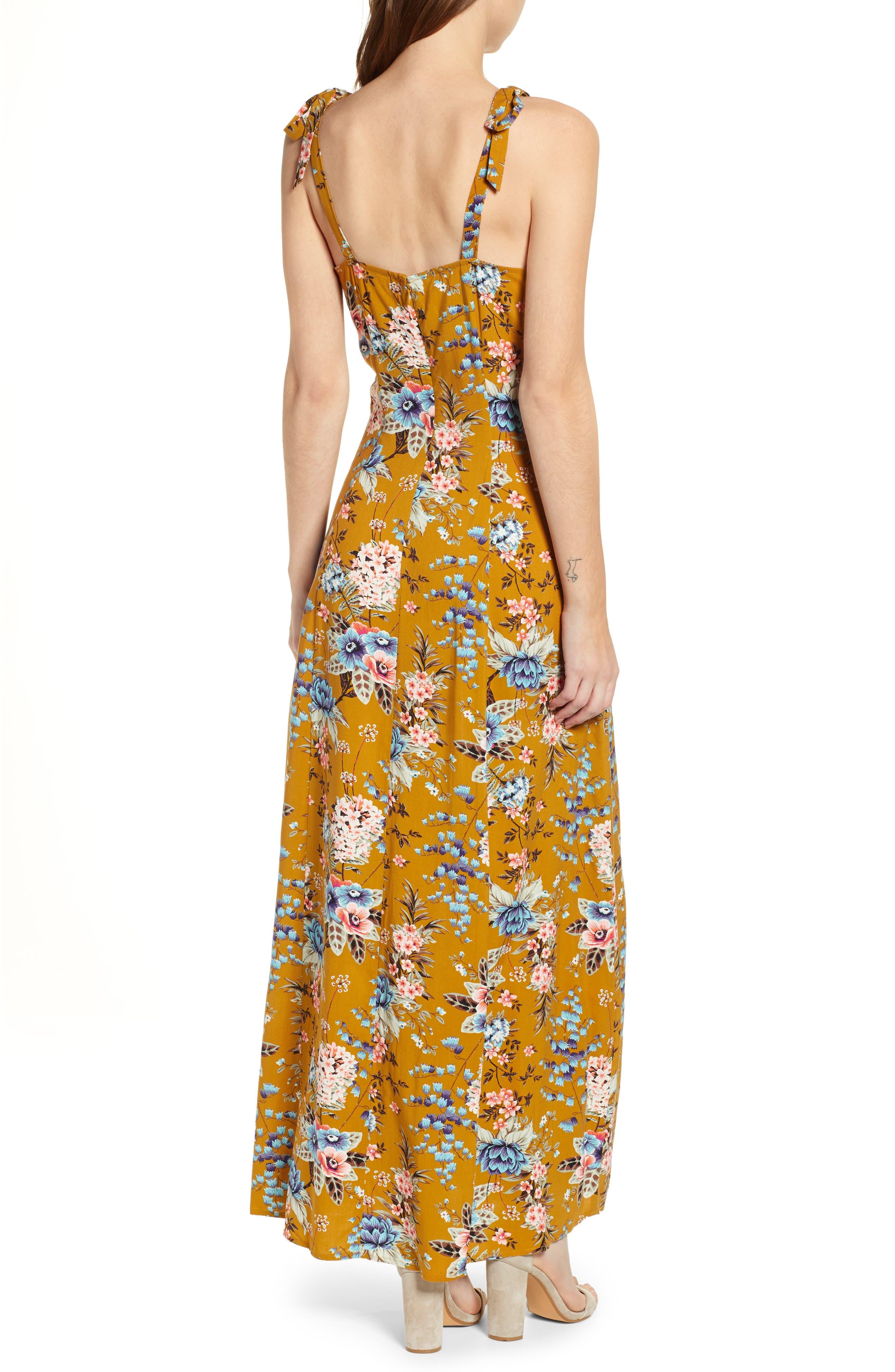 BP.,                             Floral Tie Strap Maxi Dress,                             Alternate thumbnail 2, color,                             BROWN BRONZE KRISTA FLORAL