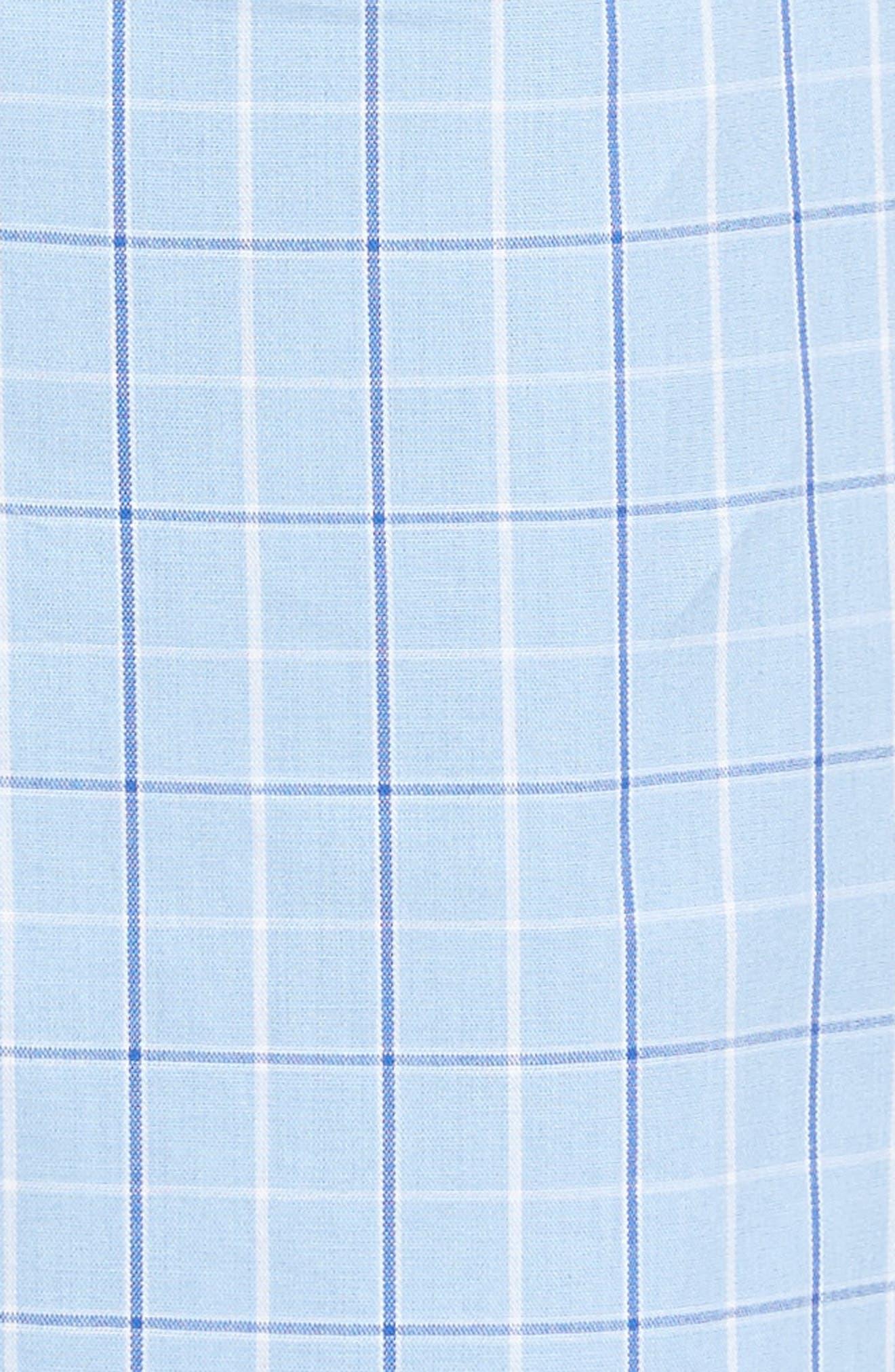 Cotton Short Pajamas,                             Alternate thumbnail 5, color,                             LIGHT BLUE CHECK