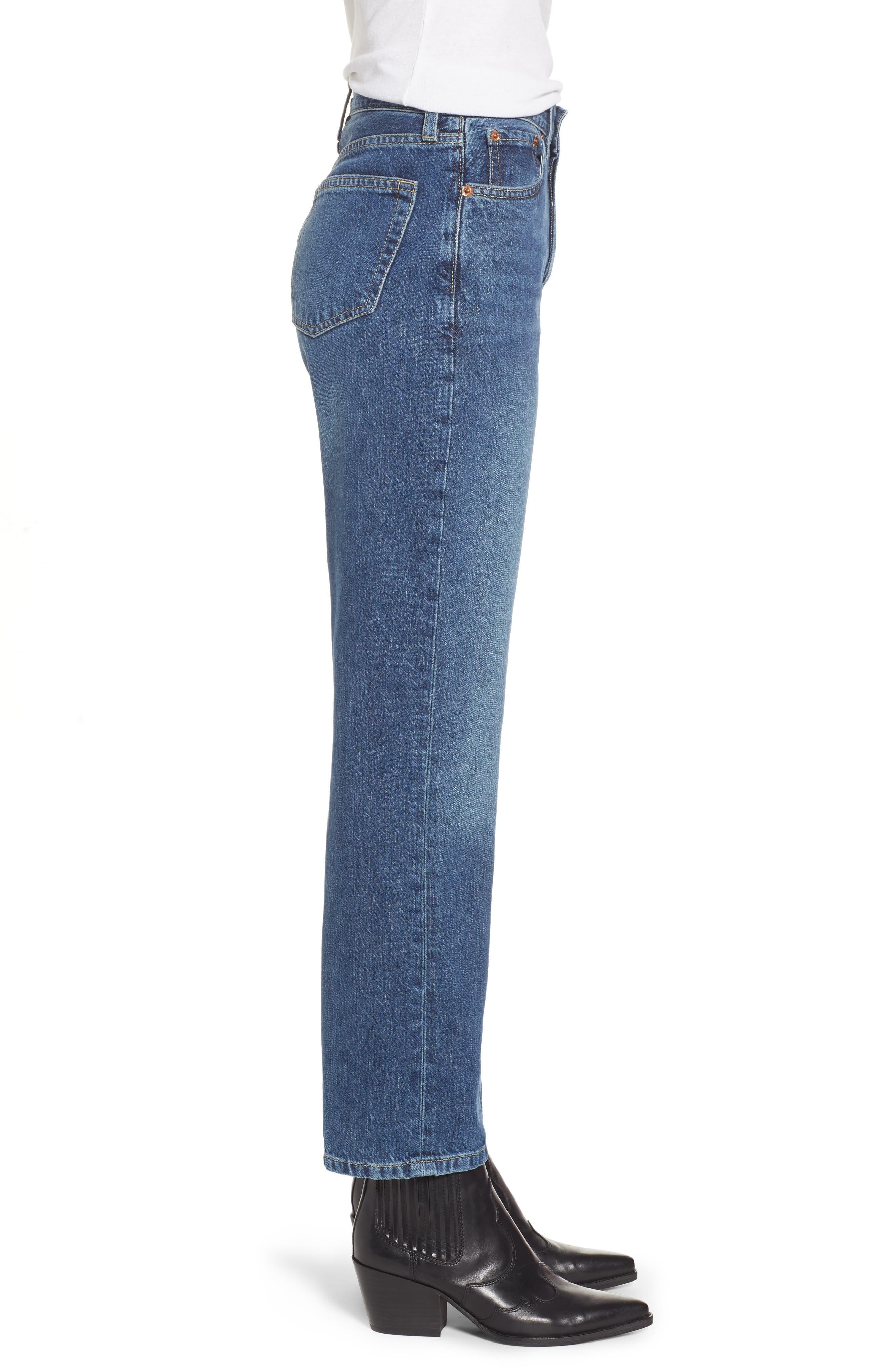 TOPSHOP,                             New Boyfriend Jeans,                             Alternate thumbnail 3, color,                             MID BLUE