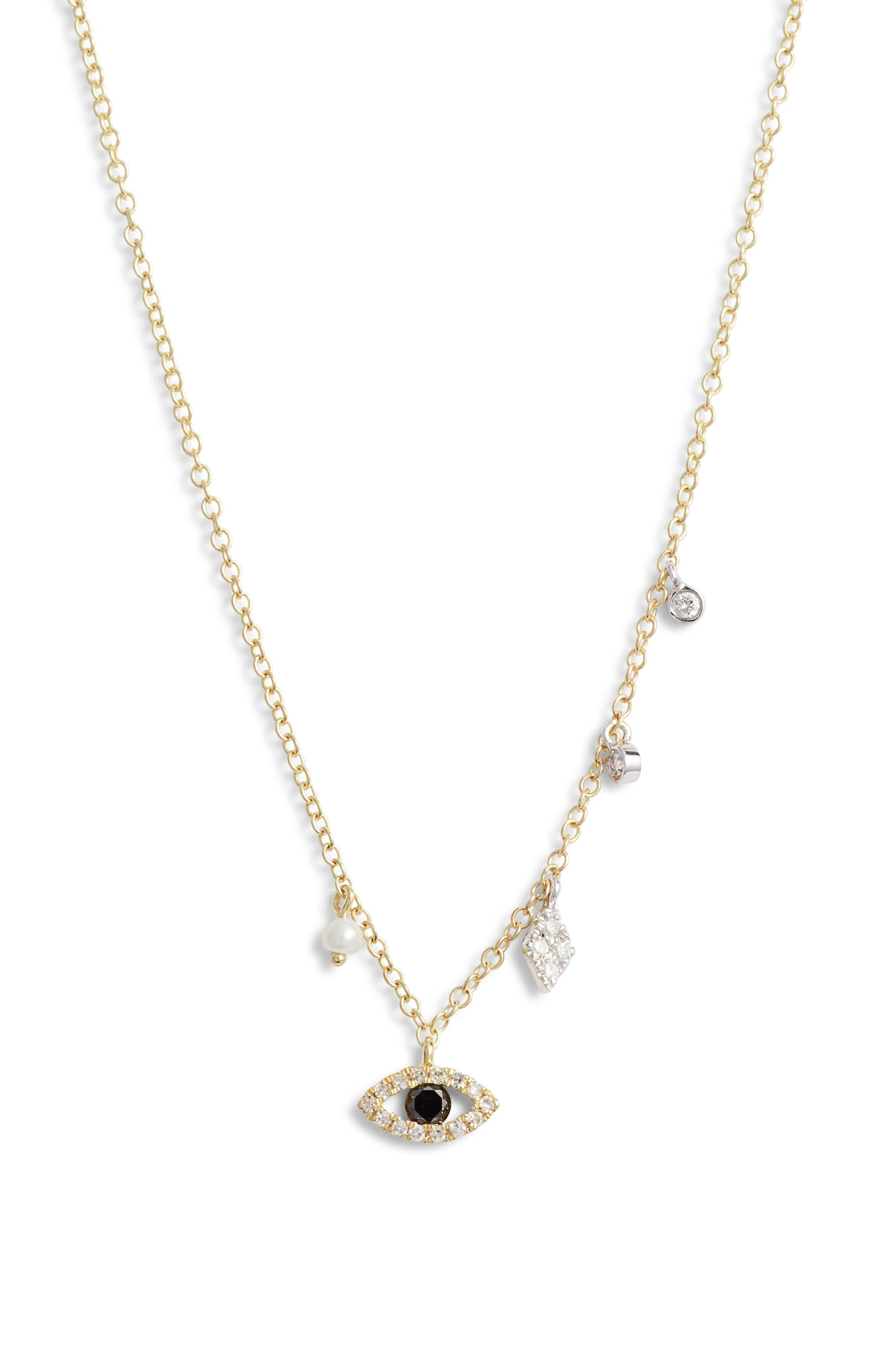 MEIRA T Evil Eye Diamond Pendant Necklace in White