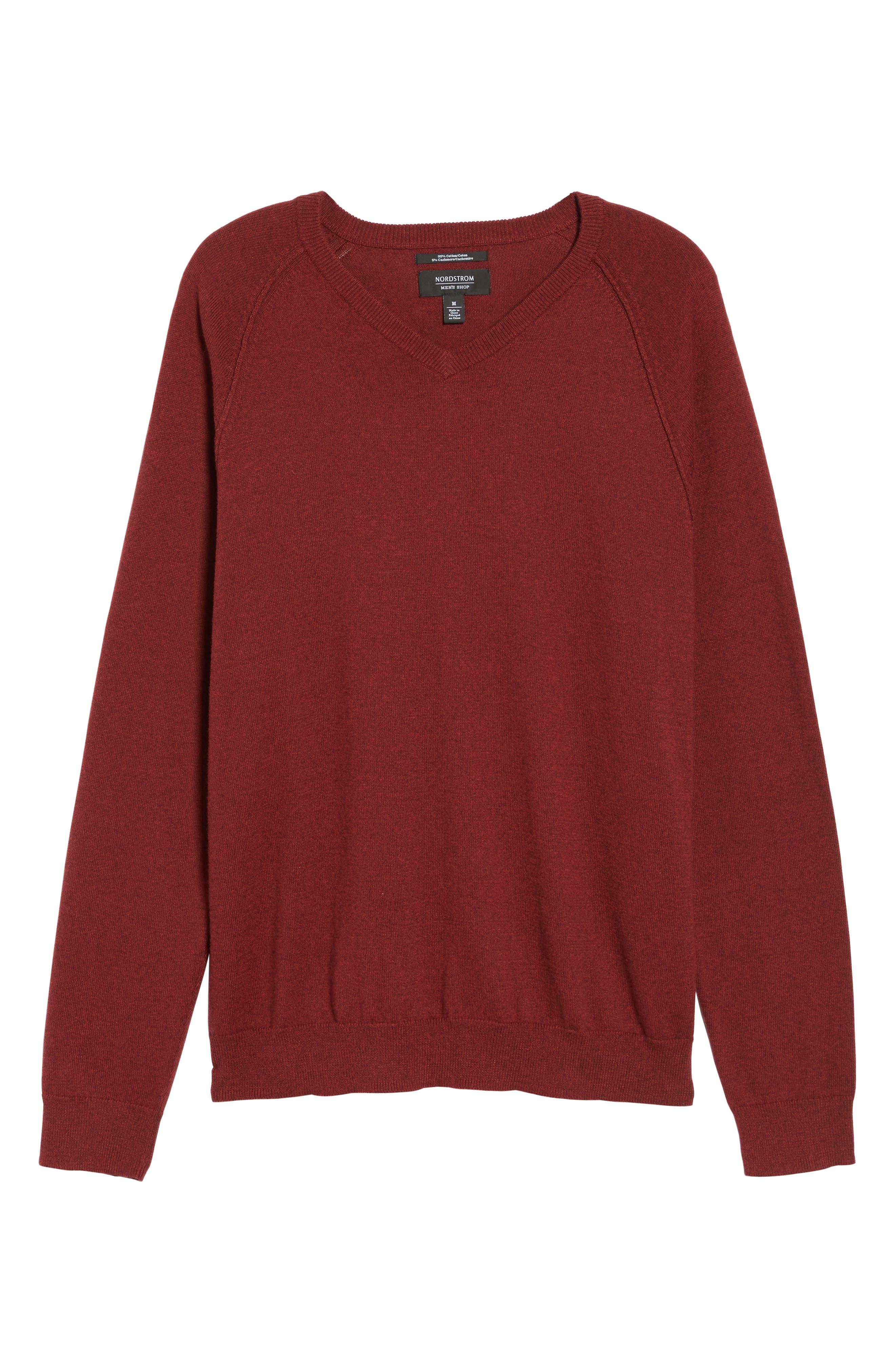 Saddle Shoulder Cotton & Cashmere V-Neck Sweater,                             Alternate thumbnail 48, color,