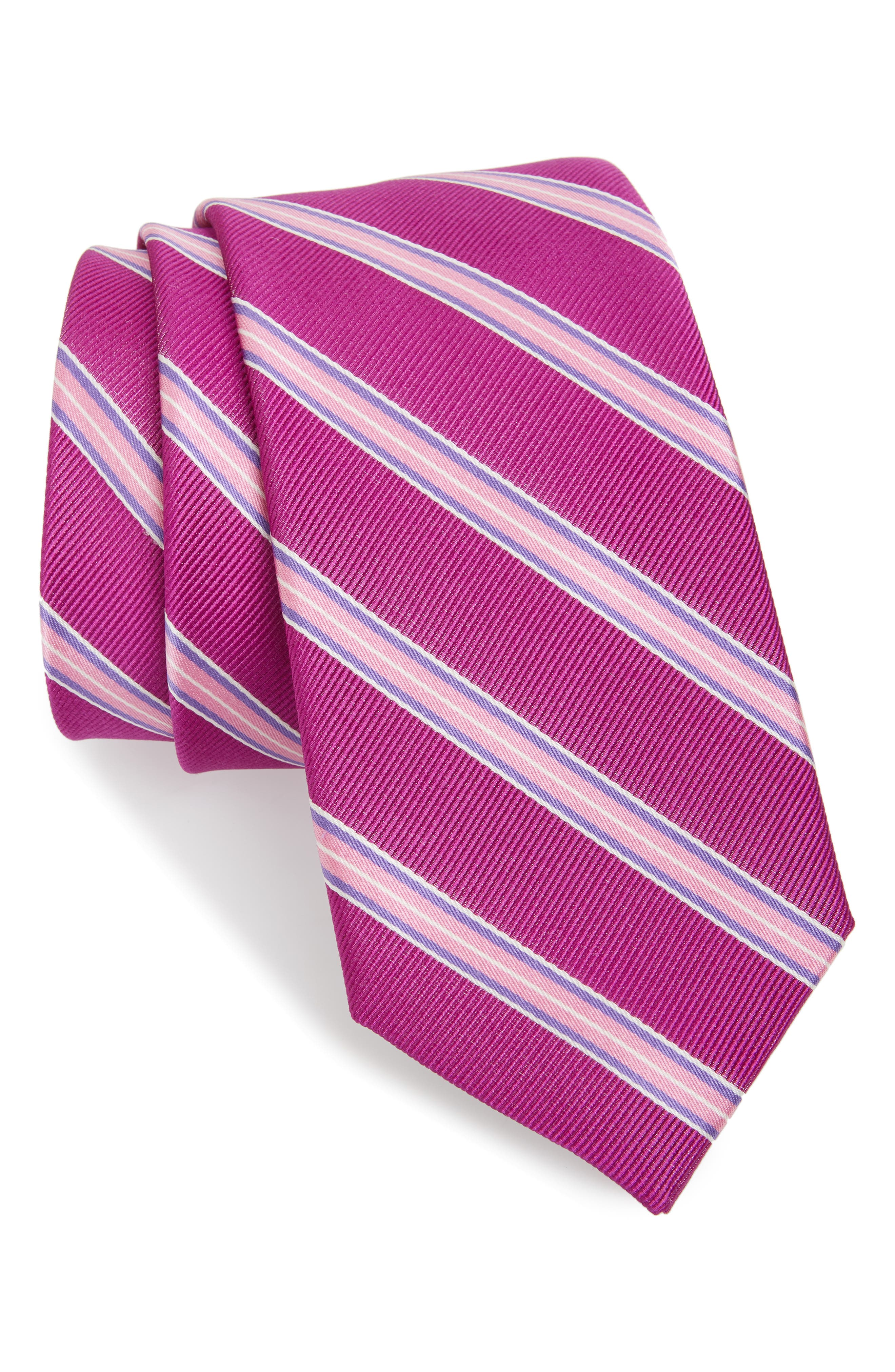 Chester Stripe Silk Tie,                             Main thumbnail 1, color,                             BERRY