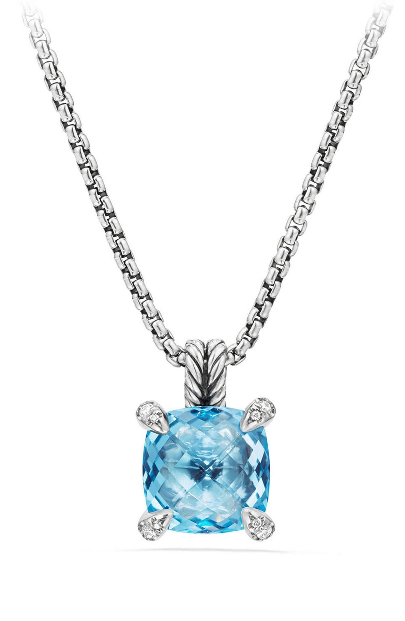 Châtelaine Pendant Necklace with Semiprecious Stone & Diamonds,                         Main,                         color, BLUE TOPAZ?