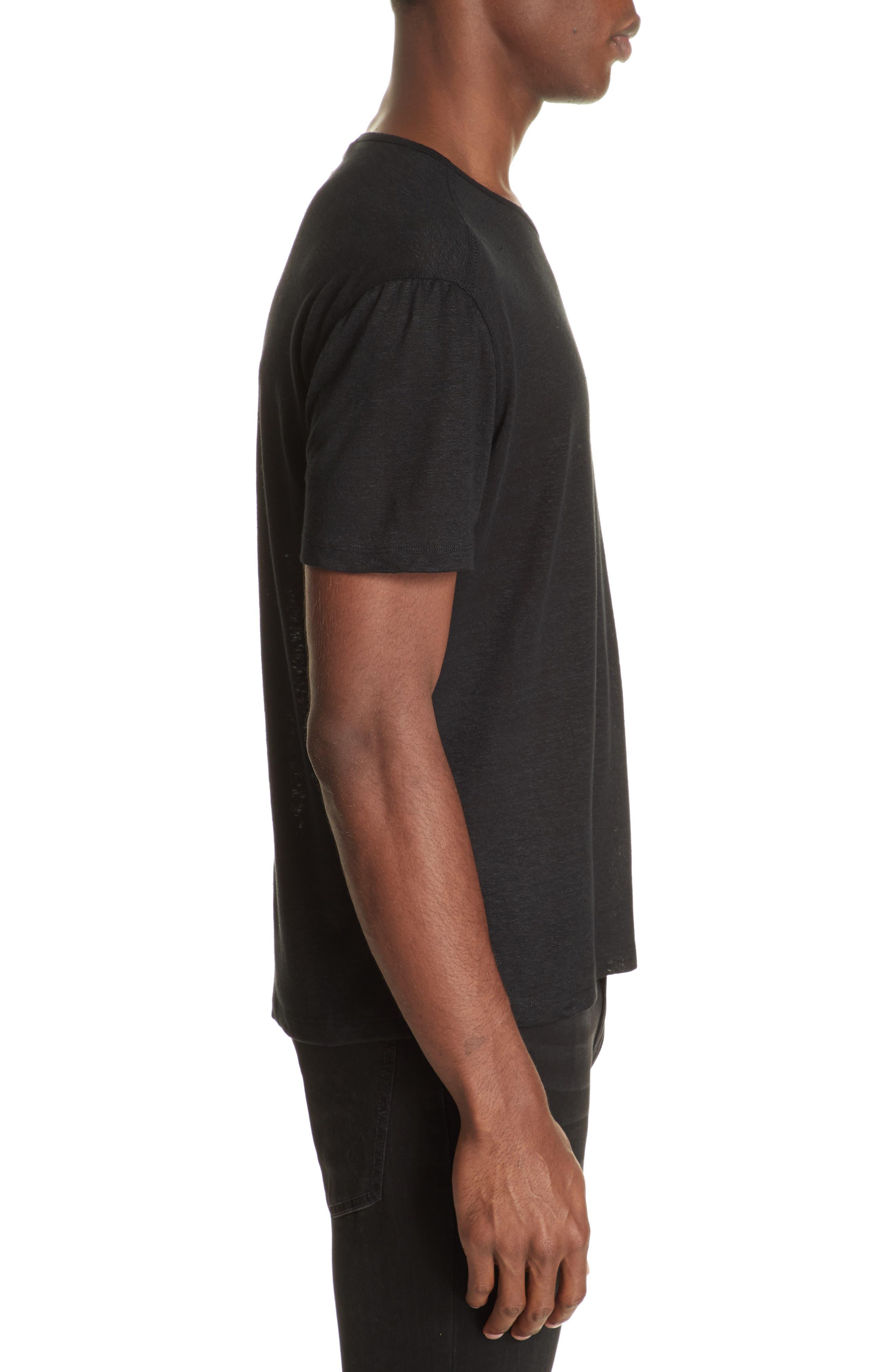 Linen Crewneck T-Shirt,                             Alternate thumbnail 3, color,                             BLACK