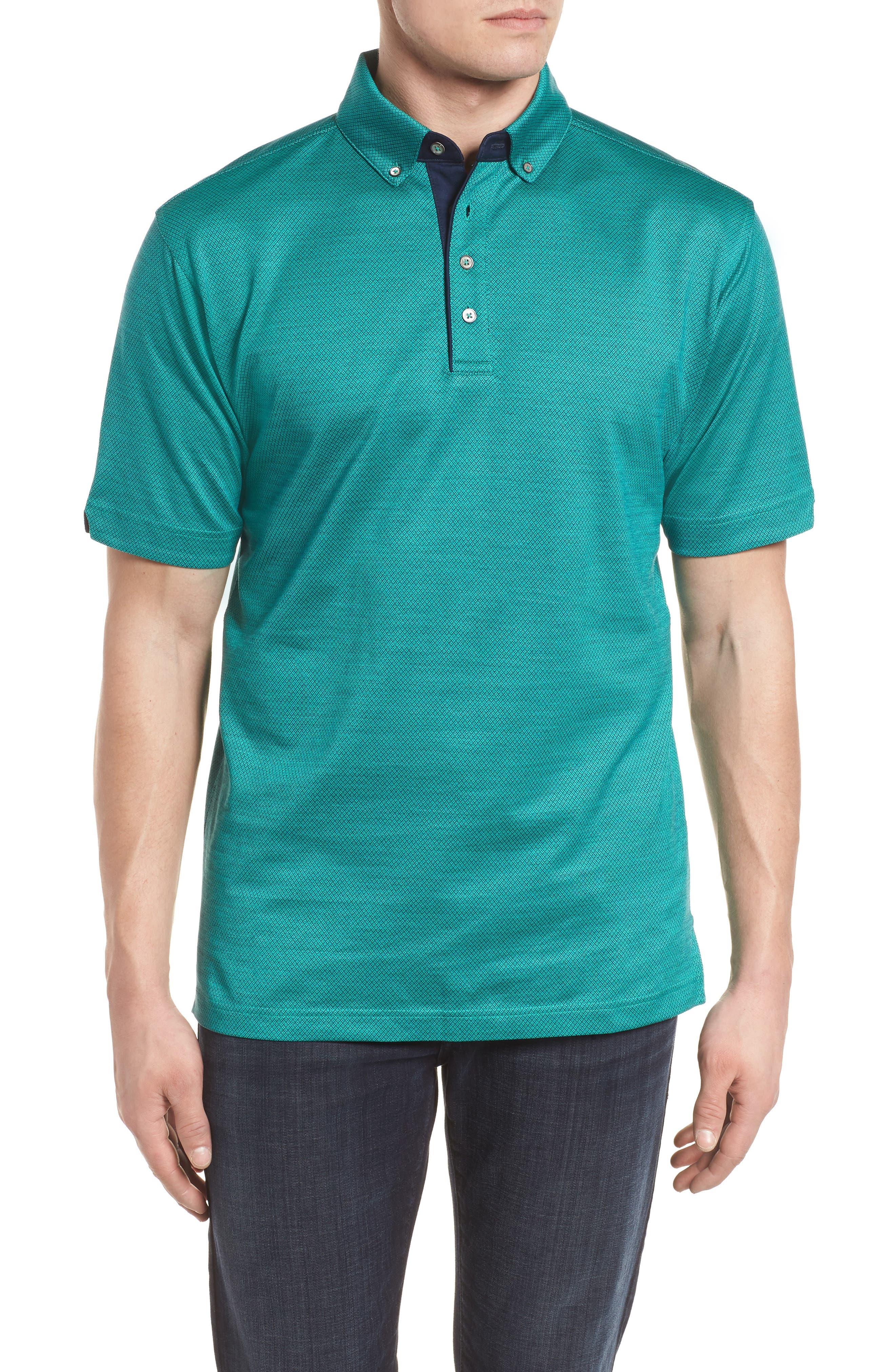 Mercerized Cotton Jacquard Polo,                         Main,                         color,