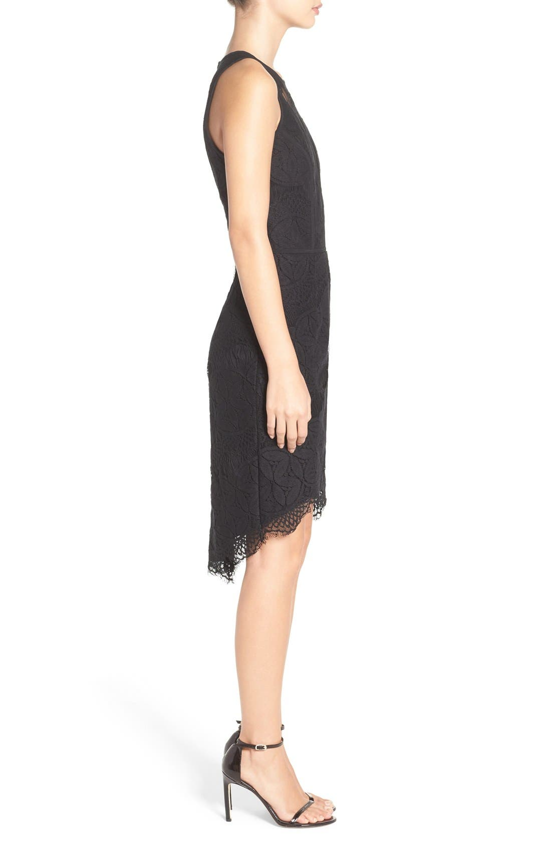Lace High/Low Sheath Dress,                             Alternate thumbnail 44, color,