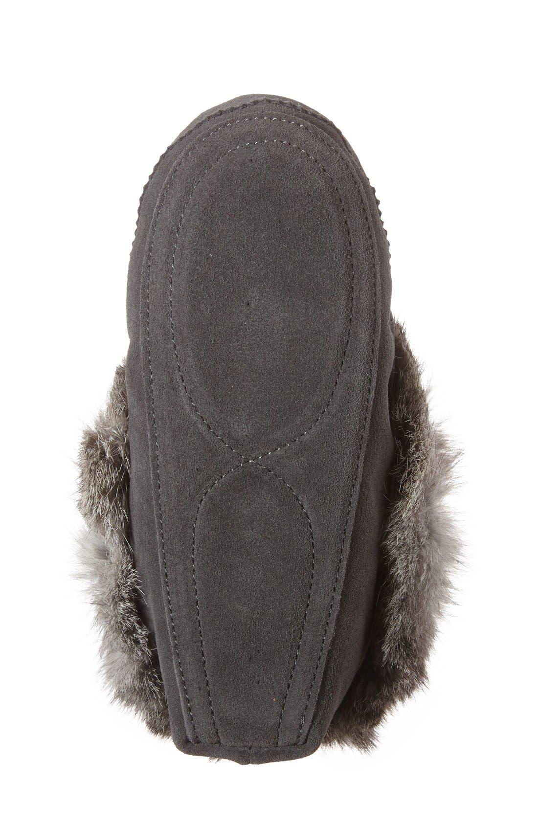 Genuine Rabbit Fur Moccasin,                             Alternate thumbnail 18, color,