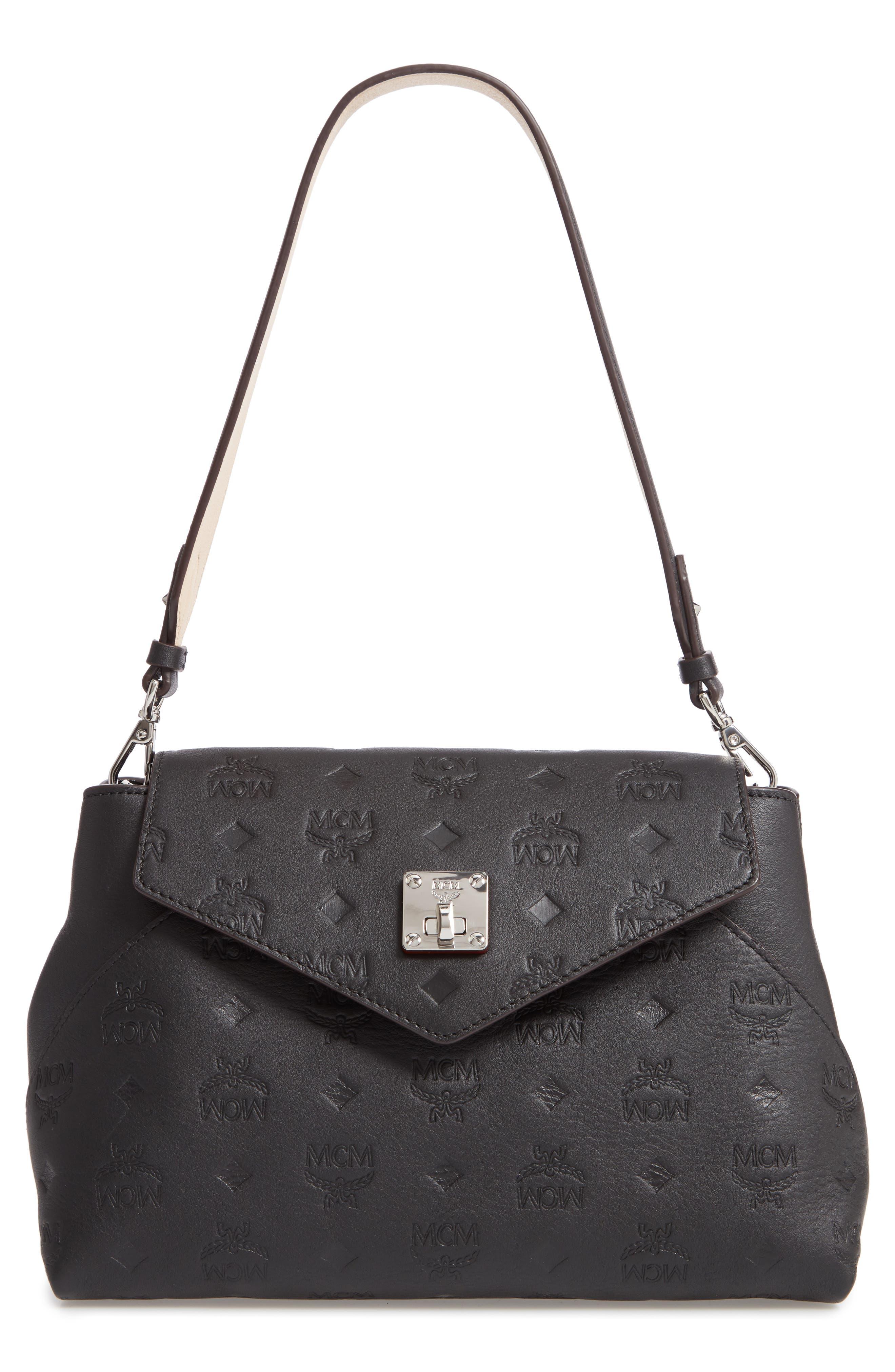 MCM,                             Essentials Monogram Leather Small Crossbody Bag,                             Main thumbnail 1, color,                             BLACK