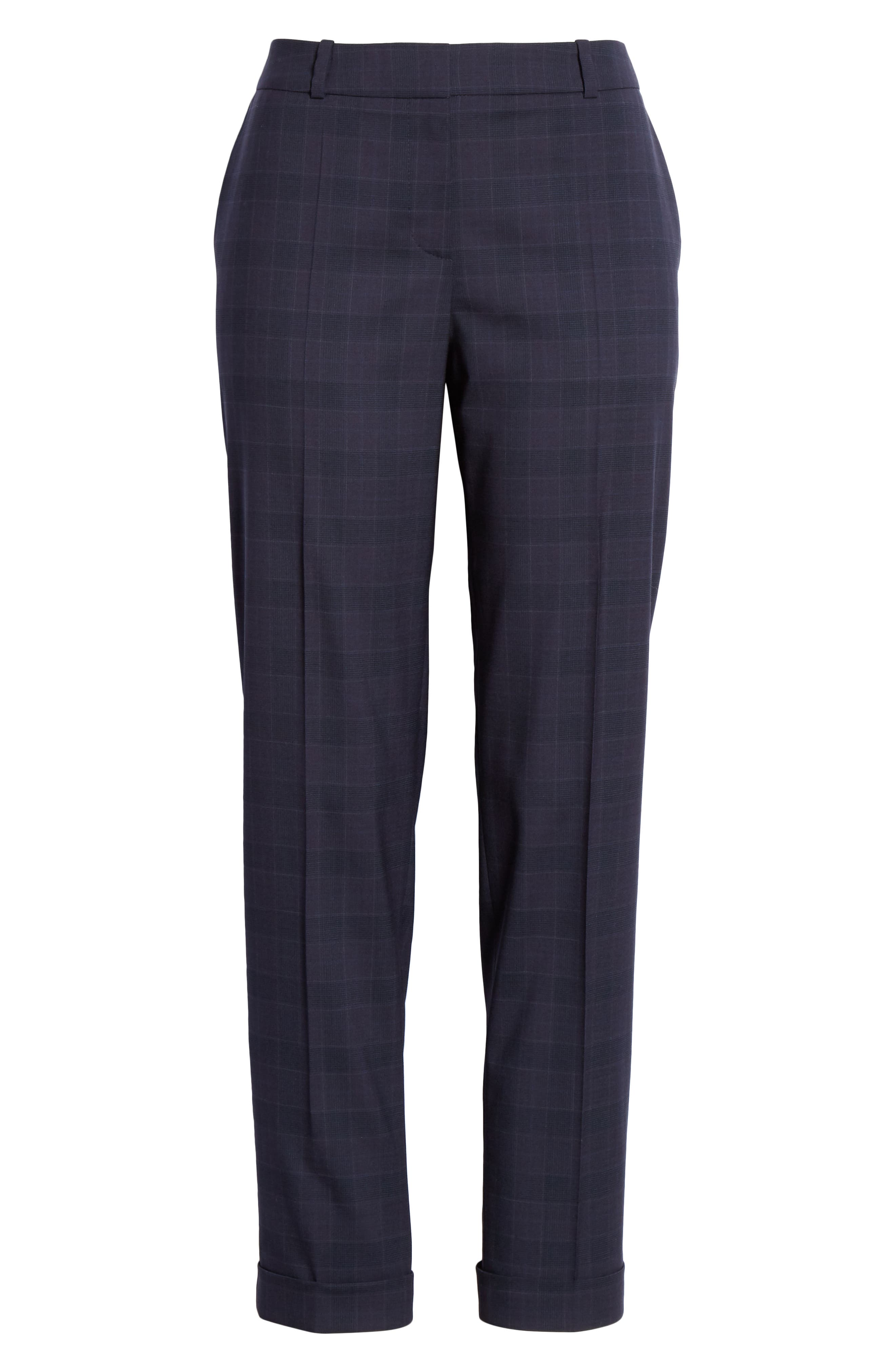 Tocanes Modern Check Wool Ankle Trousers,                             Alternate thumbnail 7, color,                             DARK NAVY FANTASY