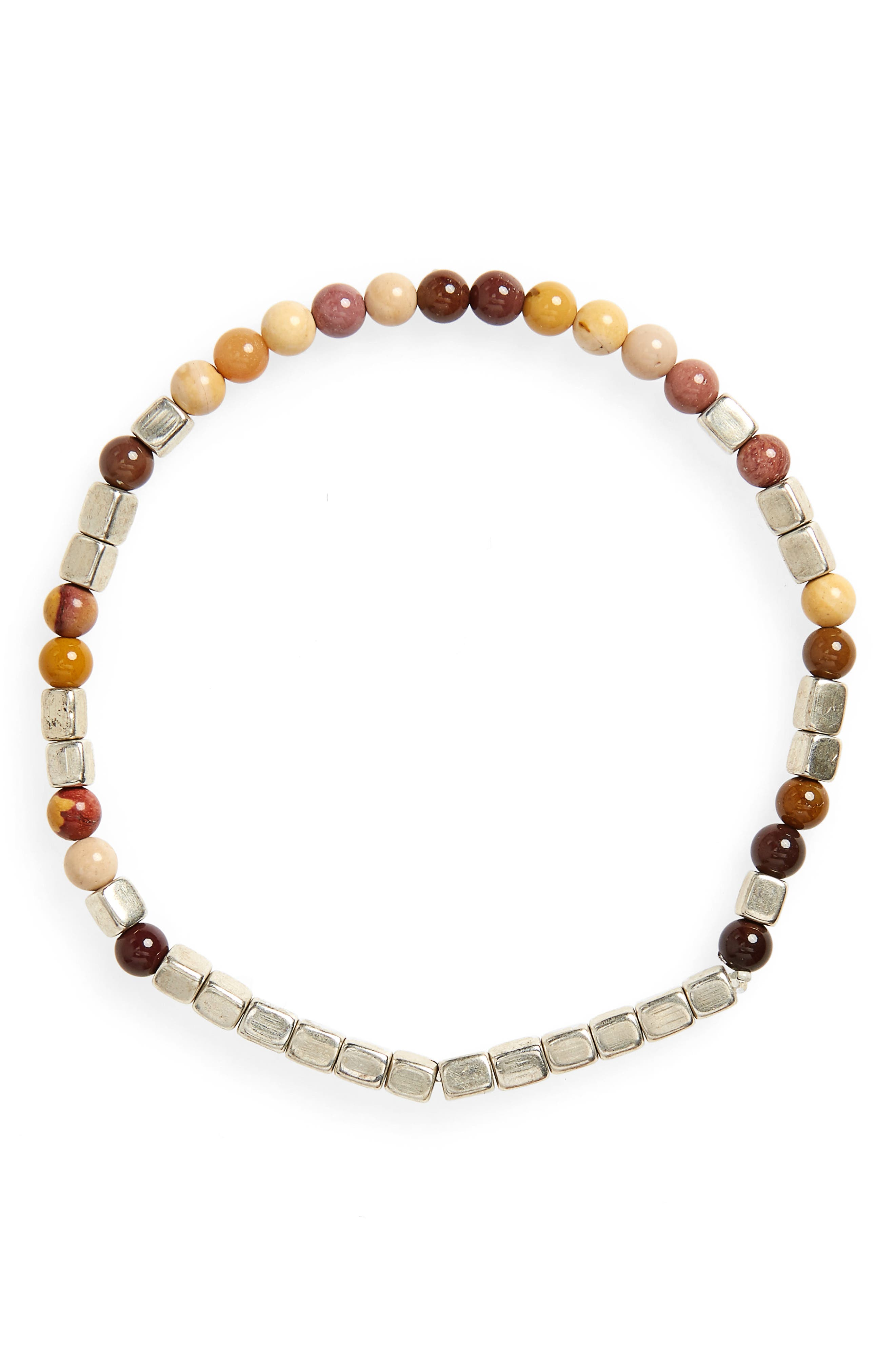 Mookaite Bead Bracelet,                             Main thumbnail 1, color,                             SILVER/ BROWN