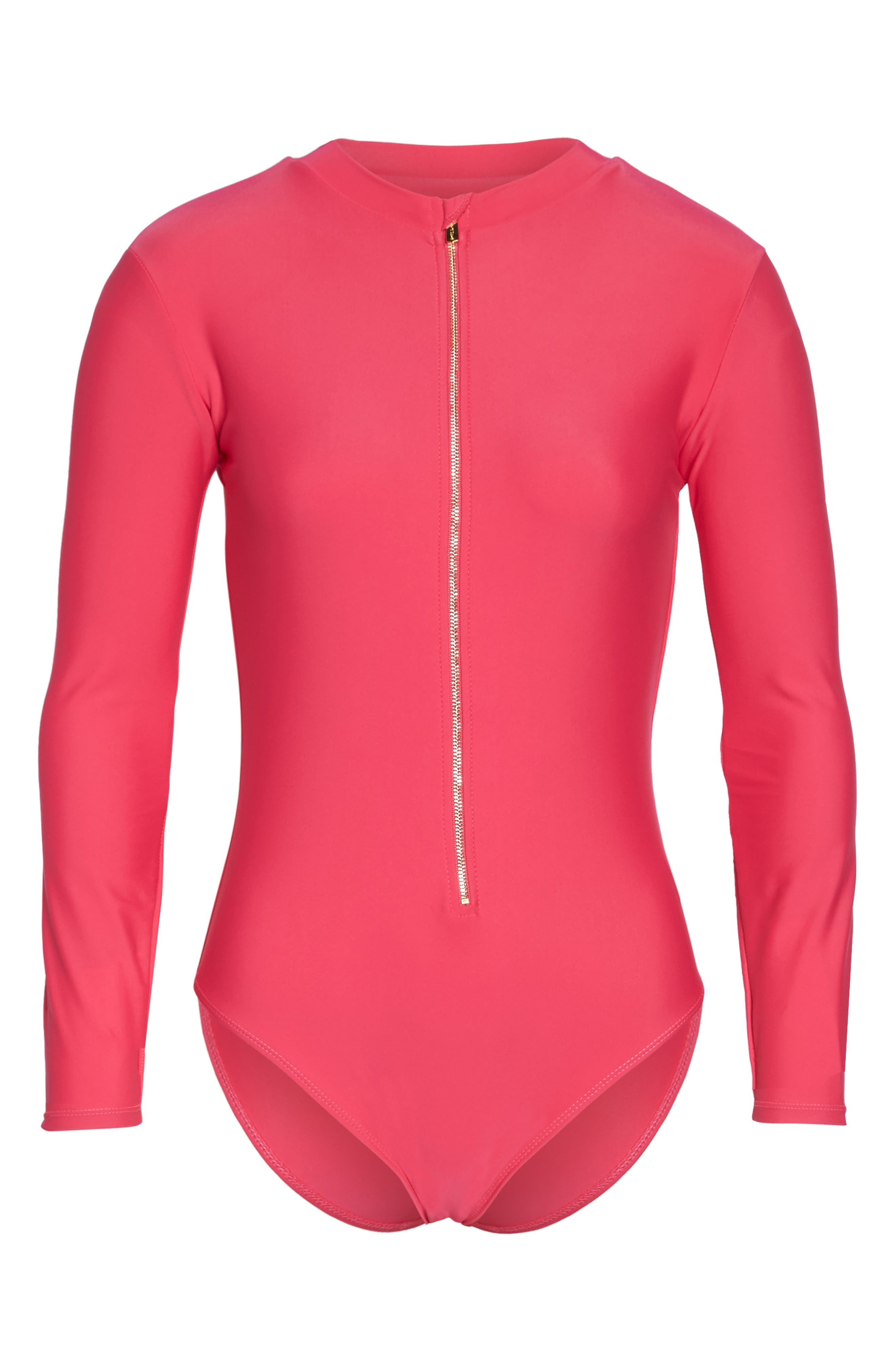 Long Sleeve One-Piece Swimsuit,                             Alternate thumbnail 6, color,