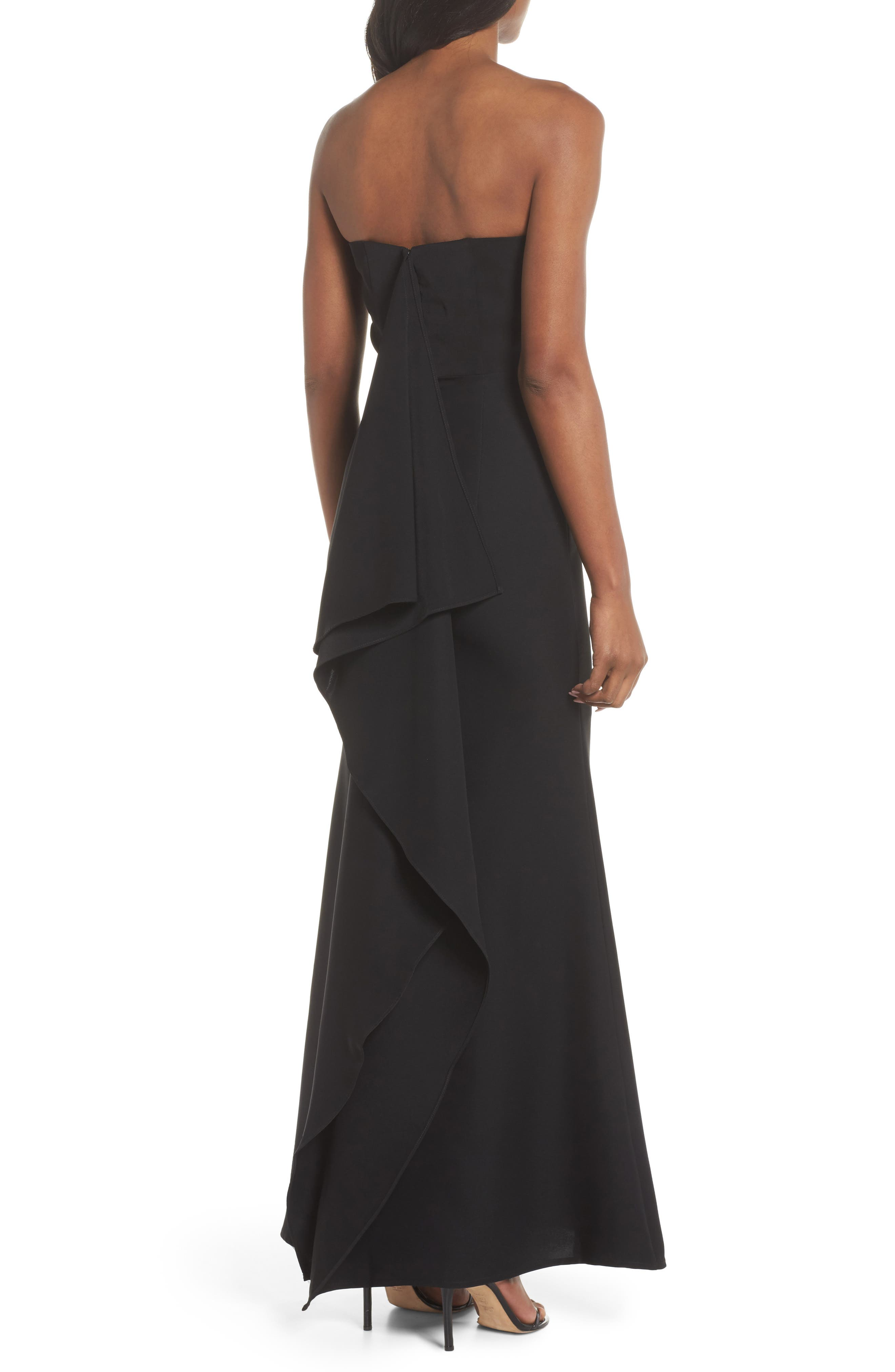 Miracle Strapless Gown,                             Alternate thumbnail 2, color,                             BLACK