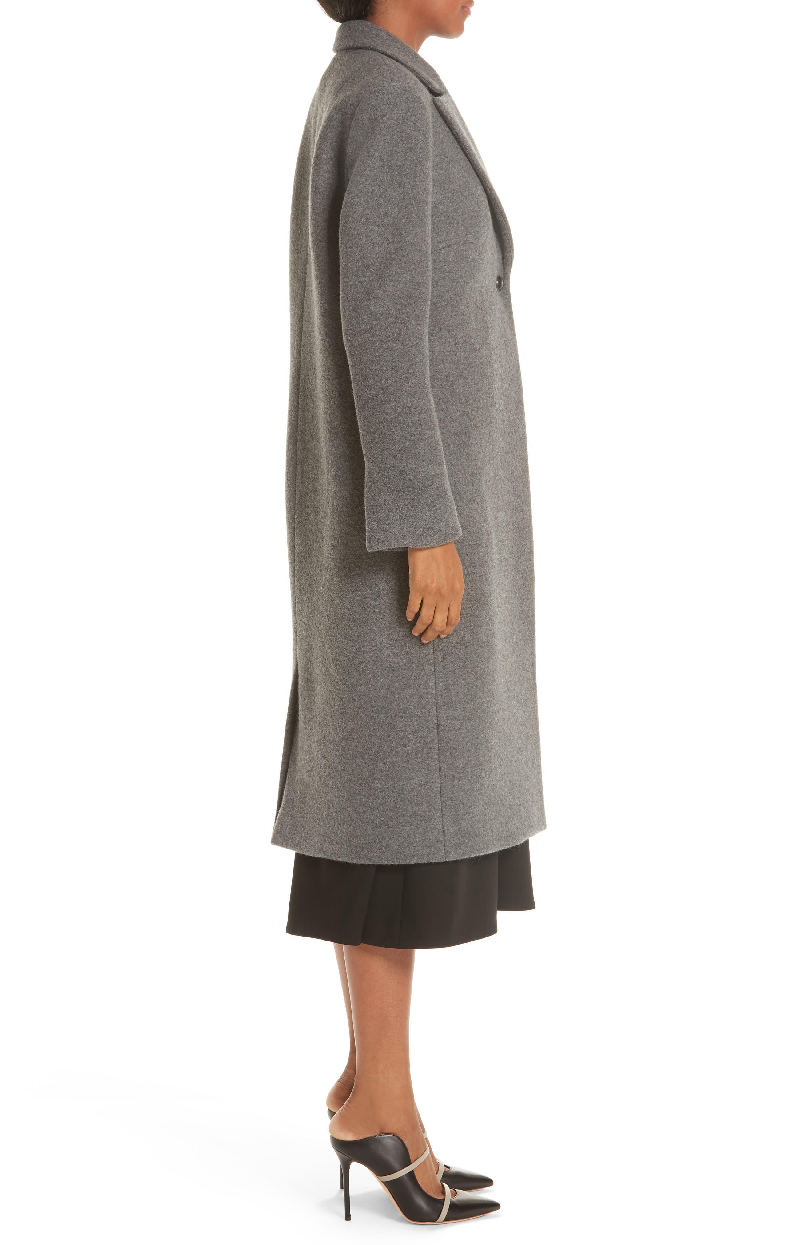 One Button Wool Coat,                             Alternate thumbnail 3, color,                             GREY MELANGE