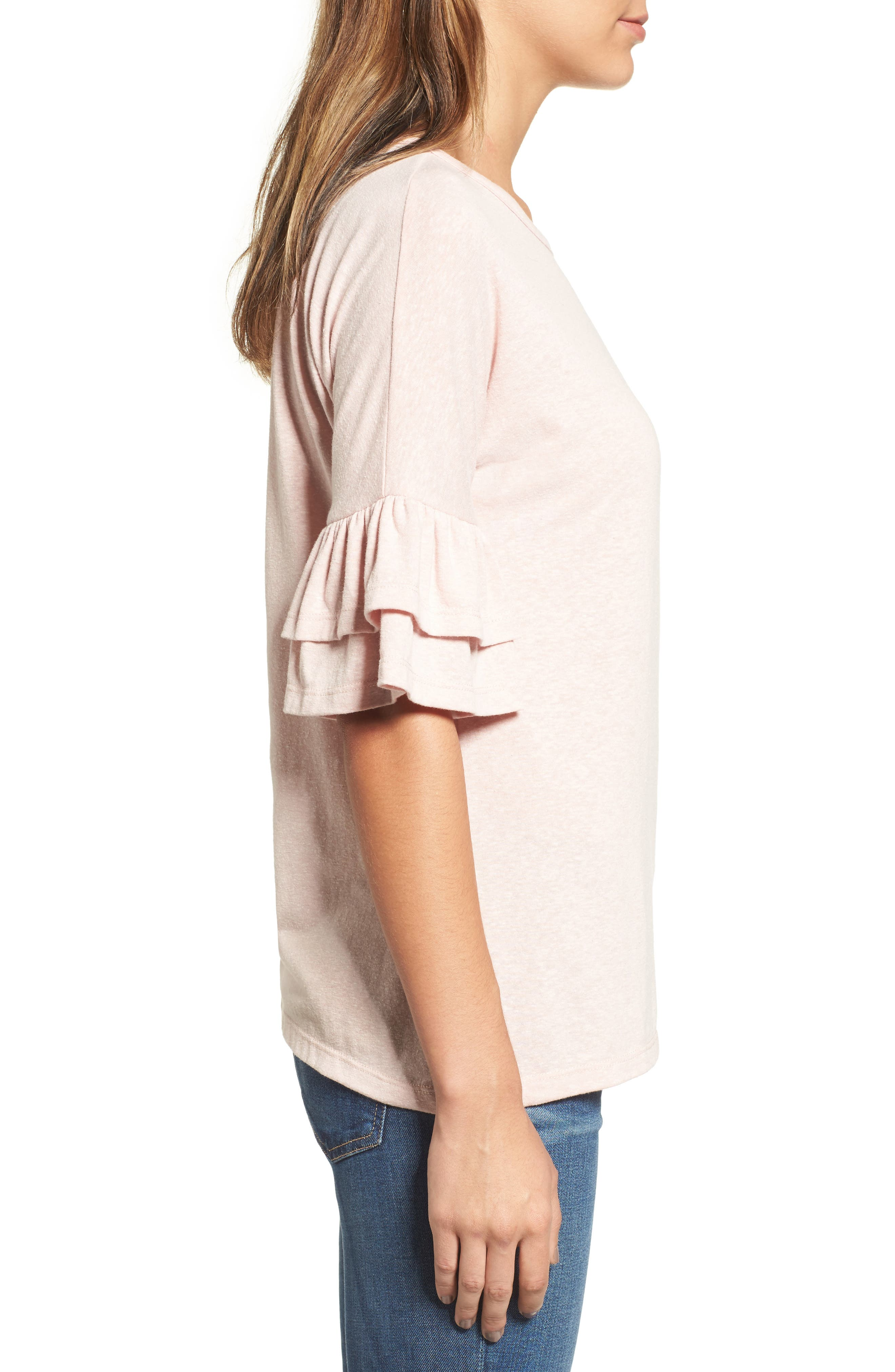 Tiered Bell Sleeve Tee,                             Alternate thumbnail 24, color,