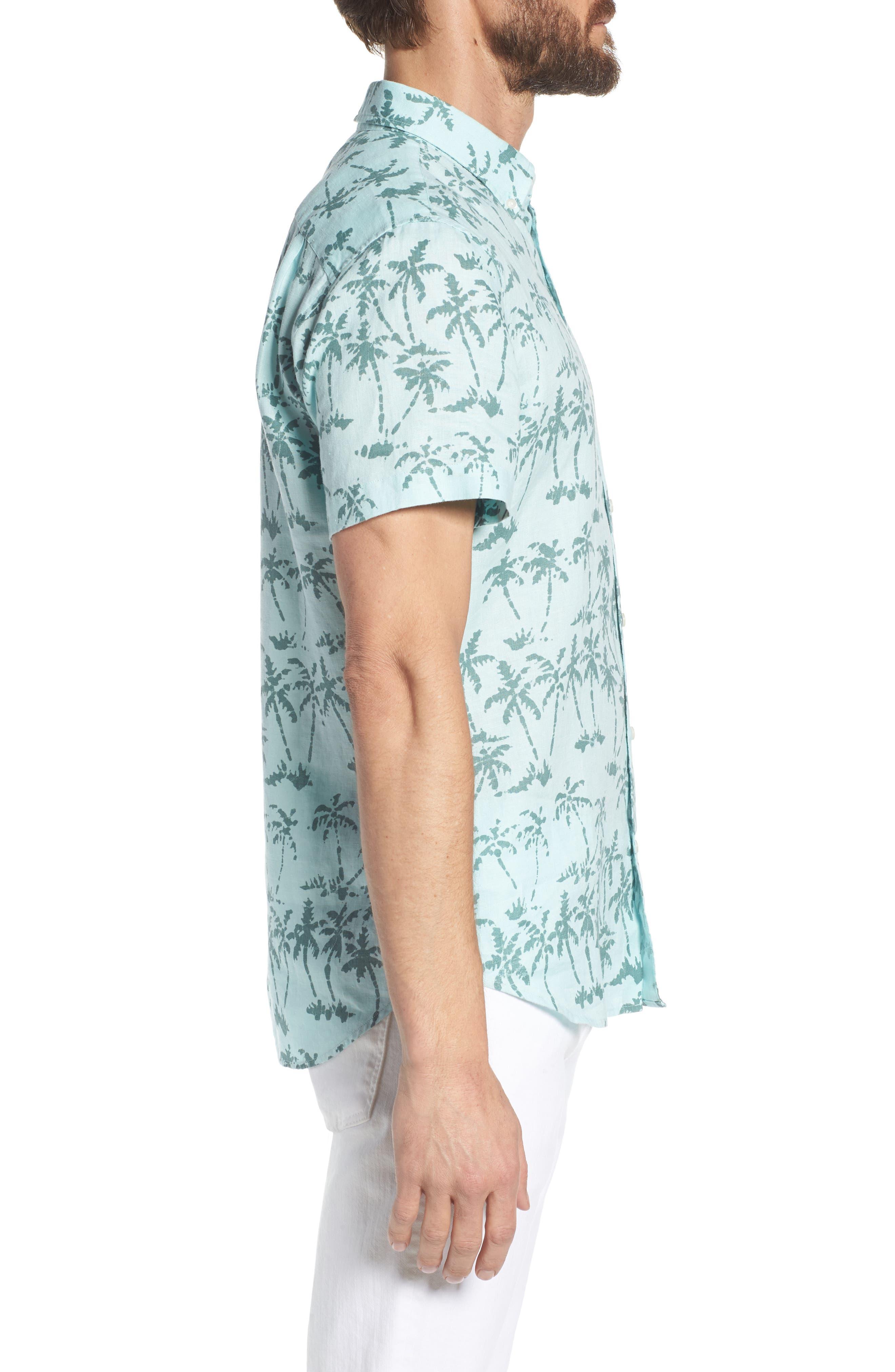 Riviera Slim Fit Palm Print Linen Sport Shirt,                             Alternate thumbnail 3, color,                             400