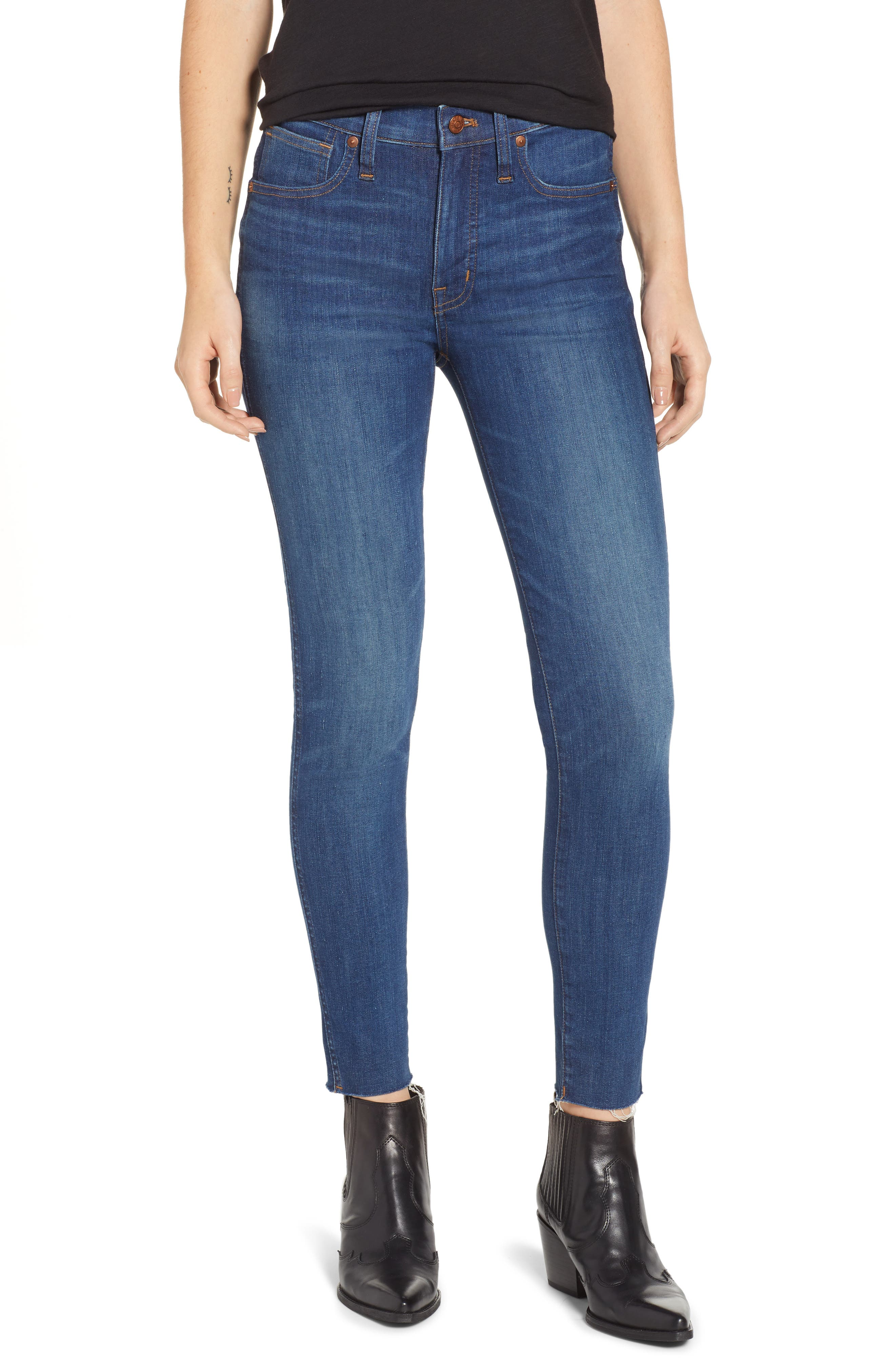 MADEWELL,                             9-Inch Skinny Jeans Raw Hem Edition,                             Main thumbnail 1, color,                             PALOMA