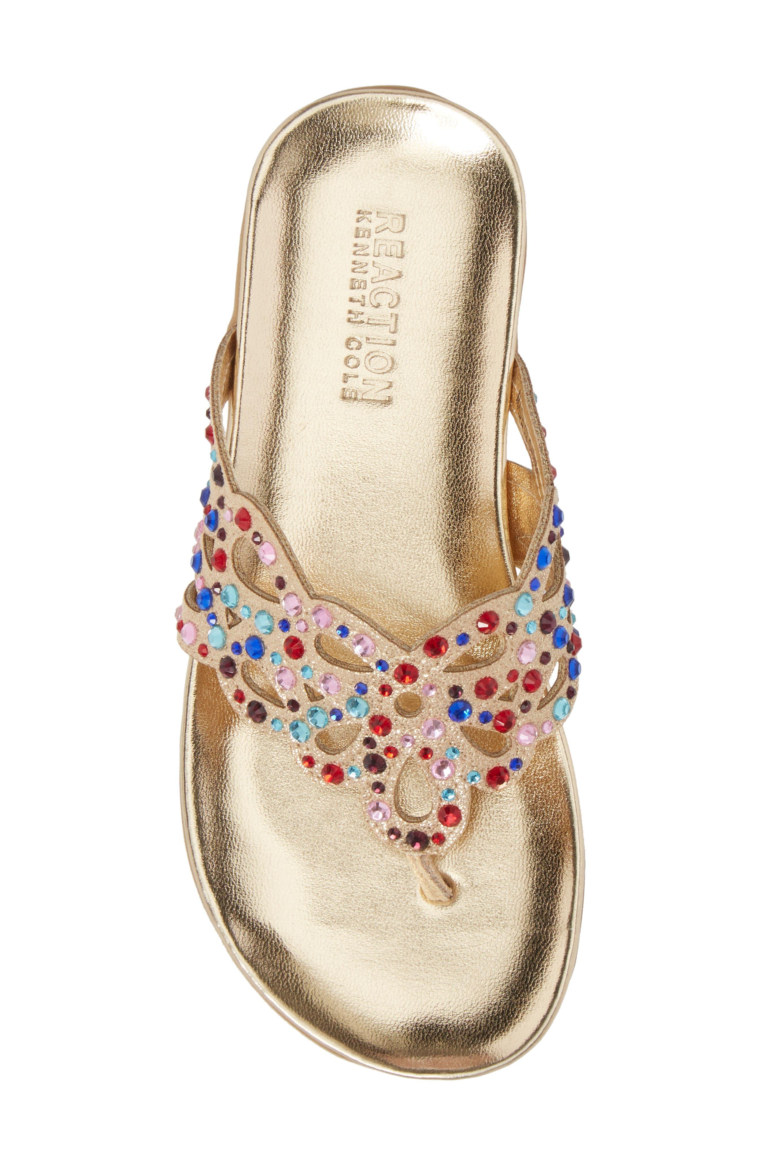 Kenneth Cole New York Flutter Metallic Crystal Thong Sandal,                             Alternate thumbnail 5, color,                             GOLD MULTI