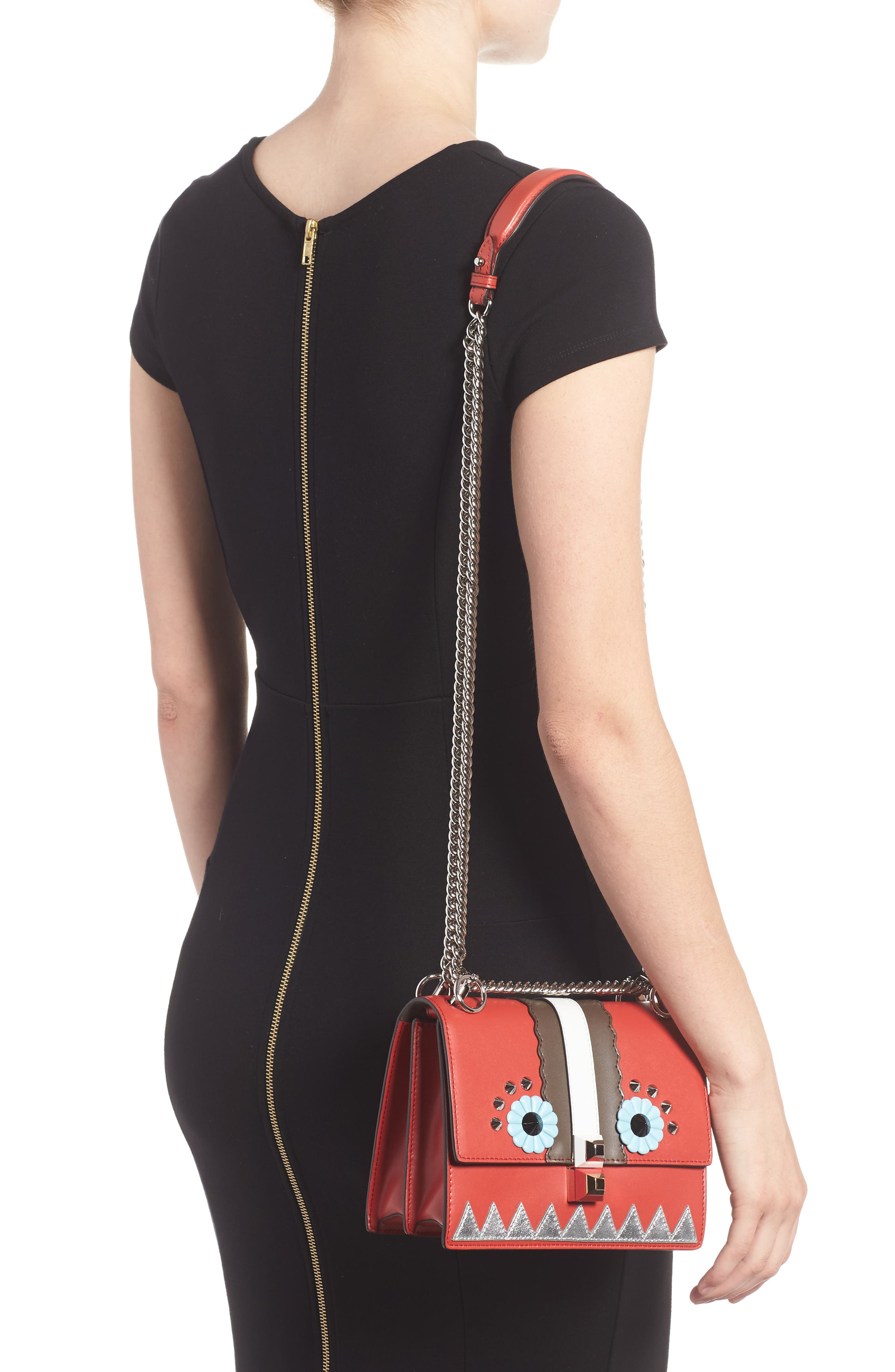 Mini Kan I Faces Leather Shoulder Bag,                             Alternate thumbnail 2, color,                             BLOODY MARY
