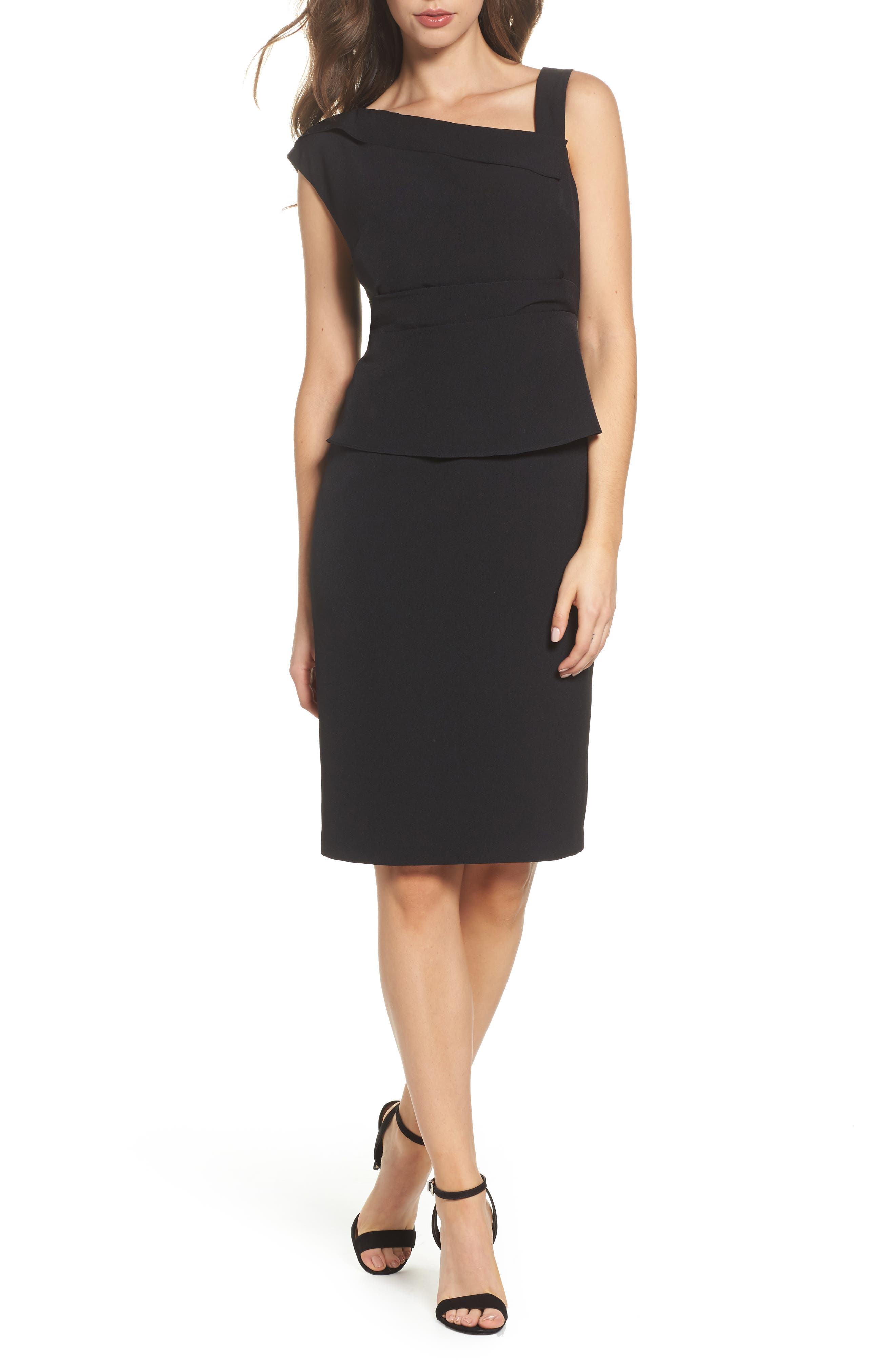Crepe Sheath Dress,                             Main thumbnail 1, color,