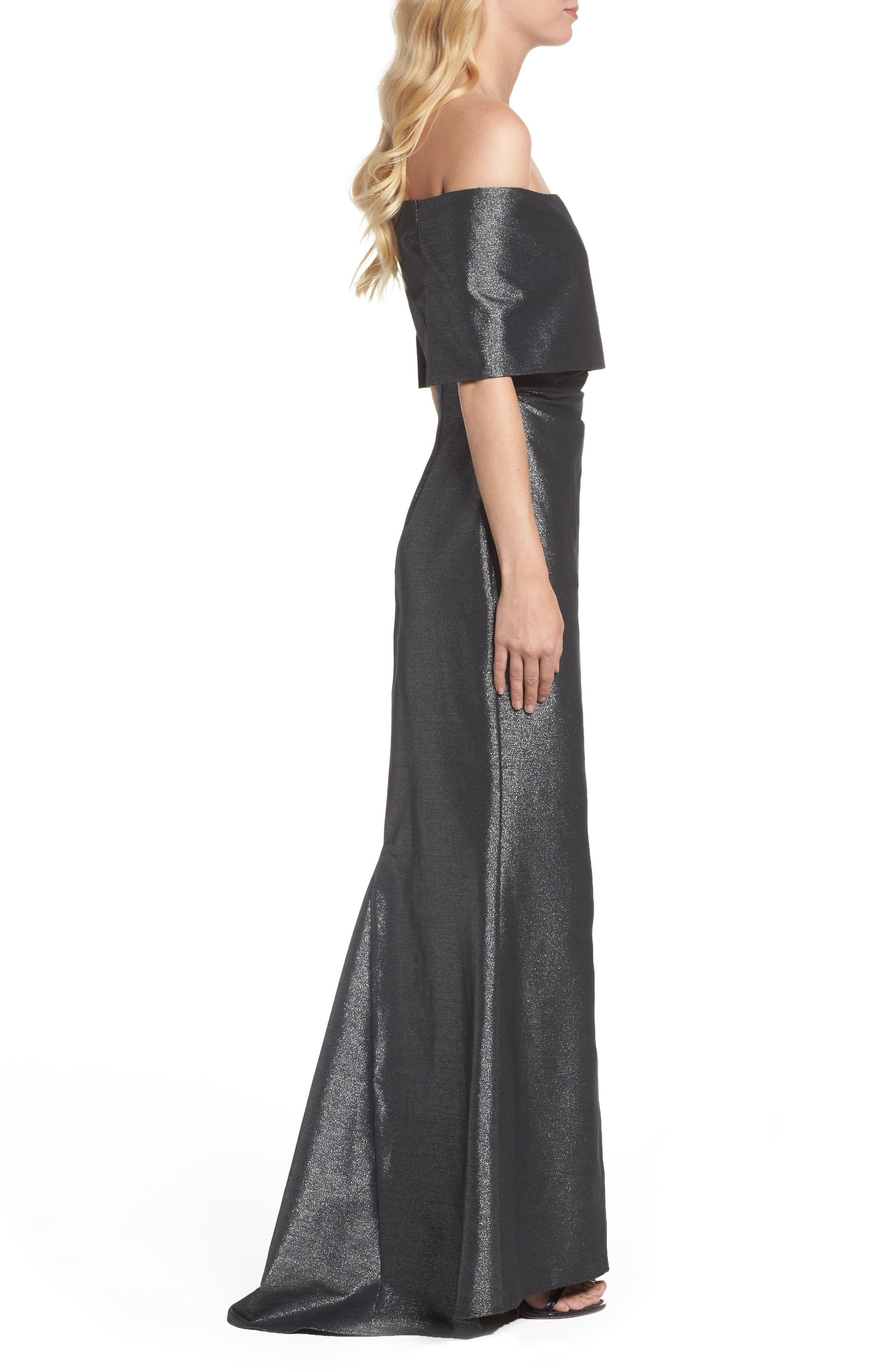 Ruched Metallic Knit Off the Shoulder Gown,                             Alternate thumbnail 3, color,                             040