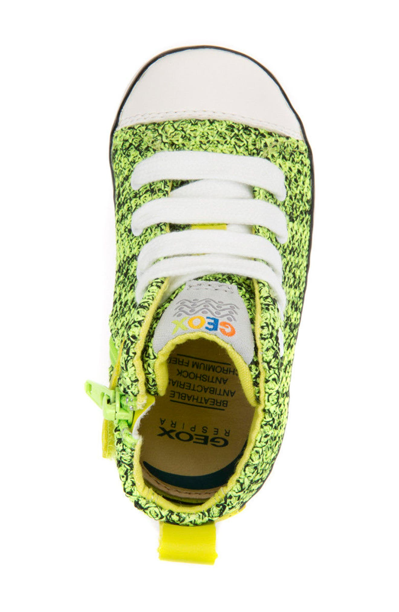 Kilwi Knit High Top Sneaker,                             Alternate thumbnail 5, color,                             LIME GREEN