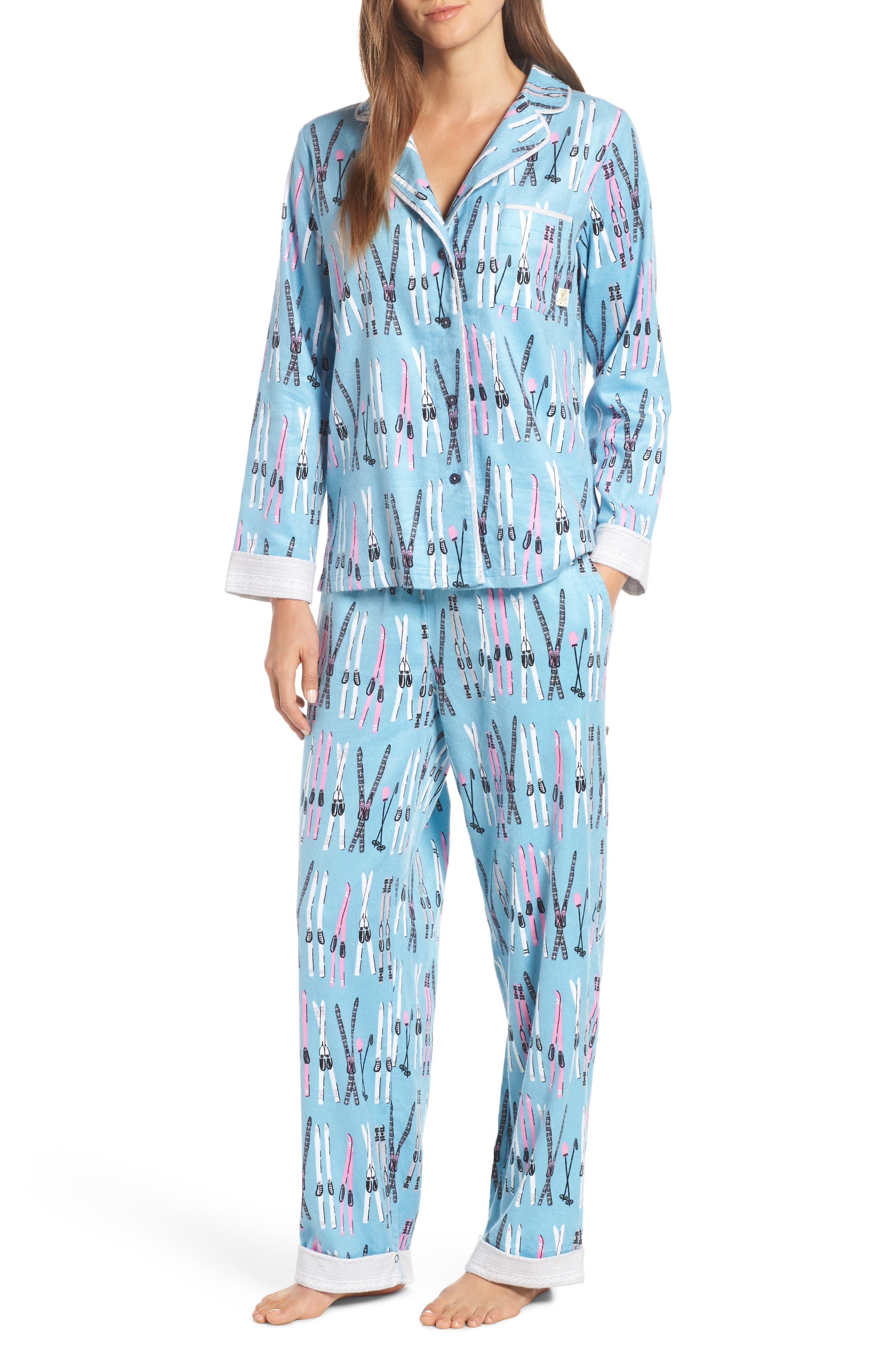 Munki Munki Flannel Pajamas, Blue/green