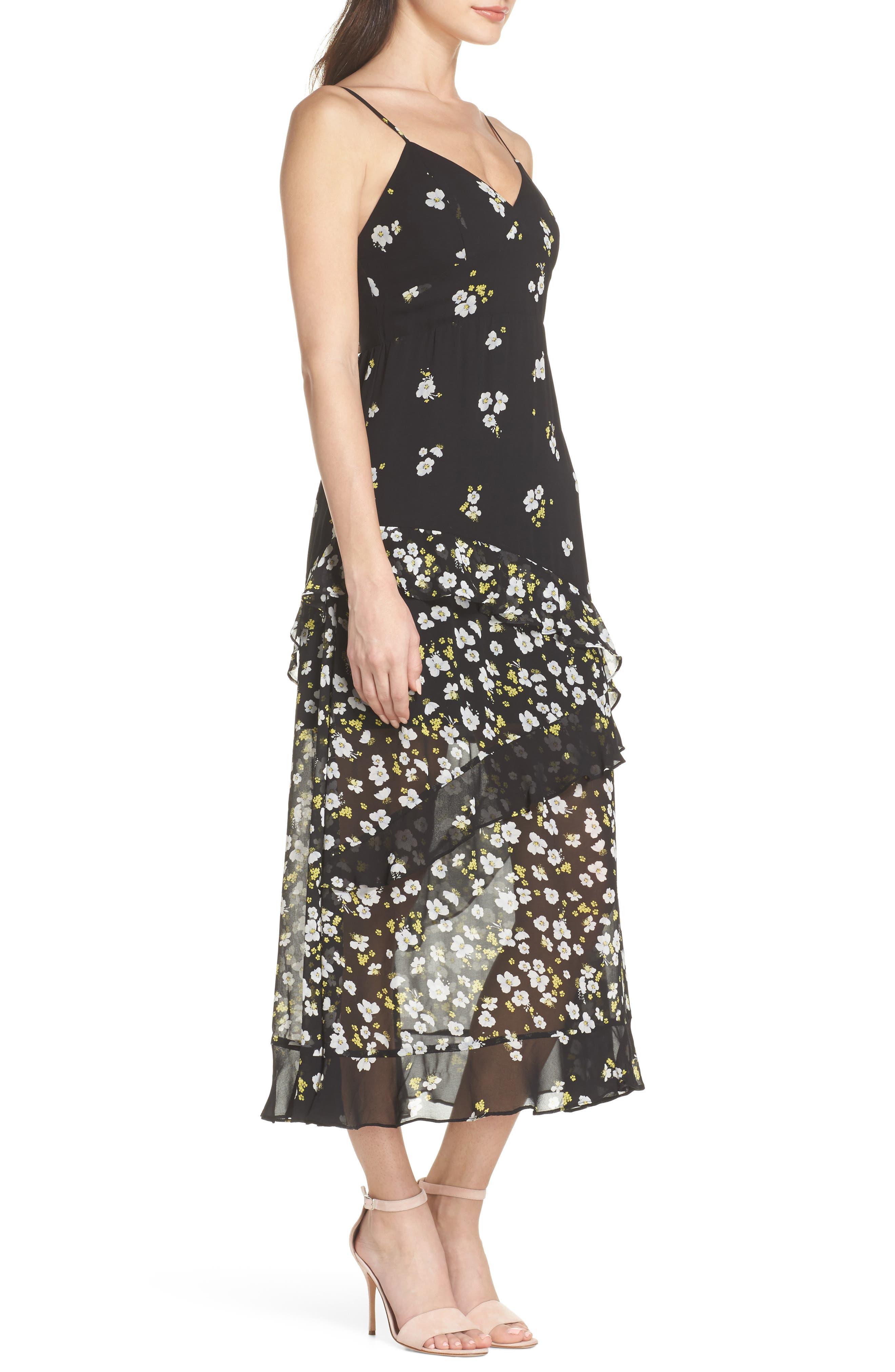 Ditzy Floral & Ruffle Chiffon Dress,                             Alternate thumbnail 3, color,                             001
