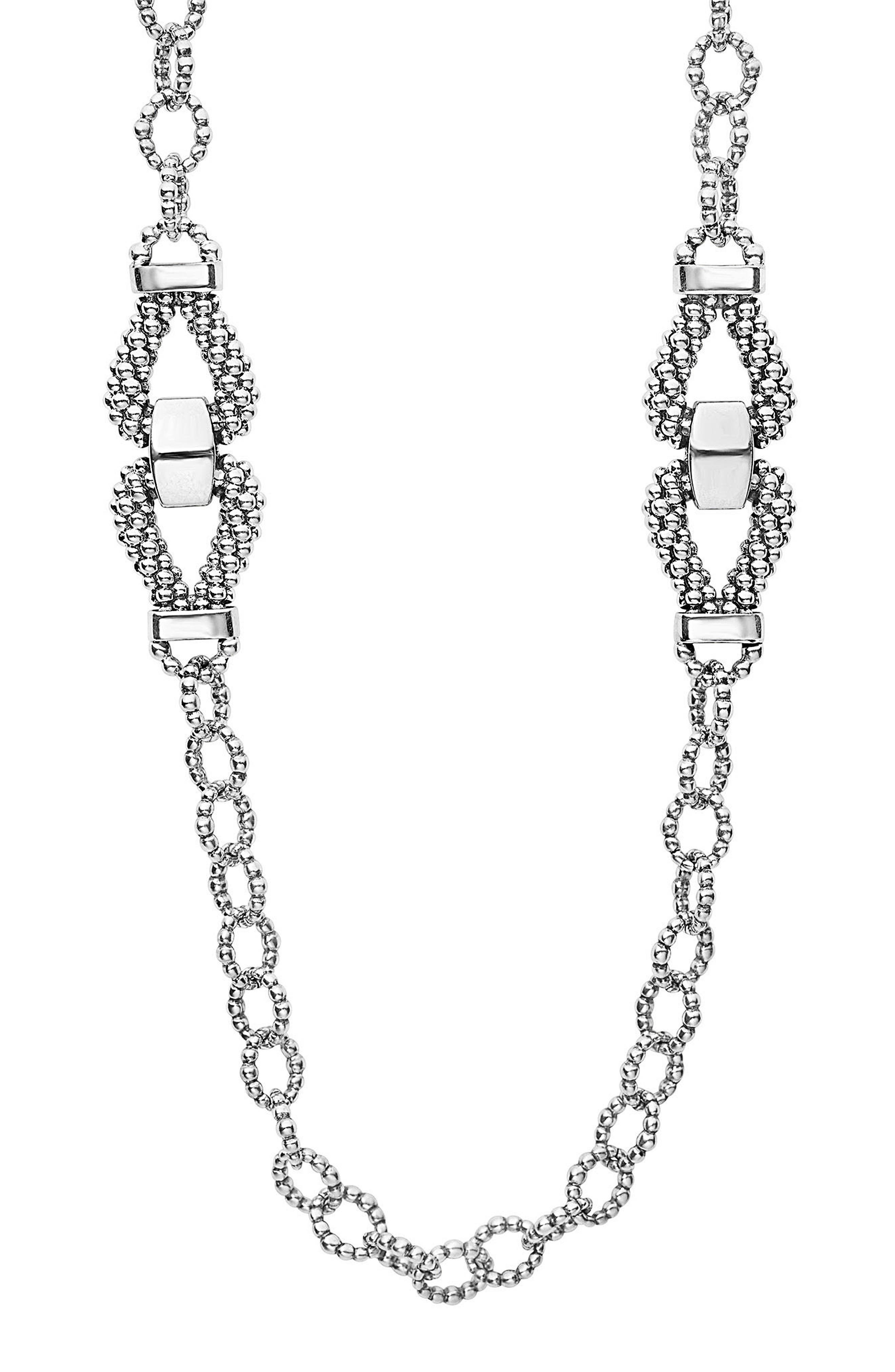 Derby Caviar Link Necklace,                         Main,                         color, SILVER