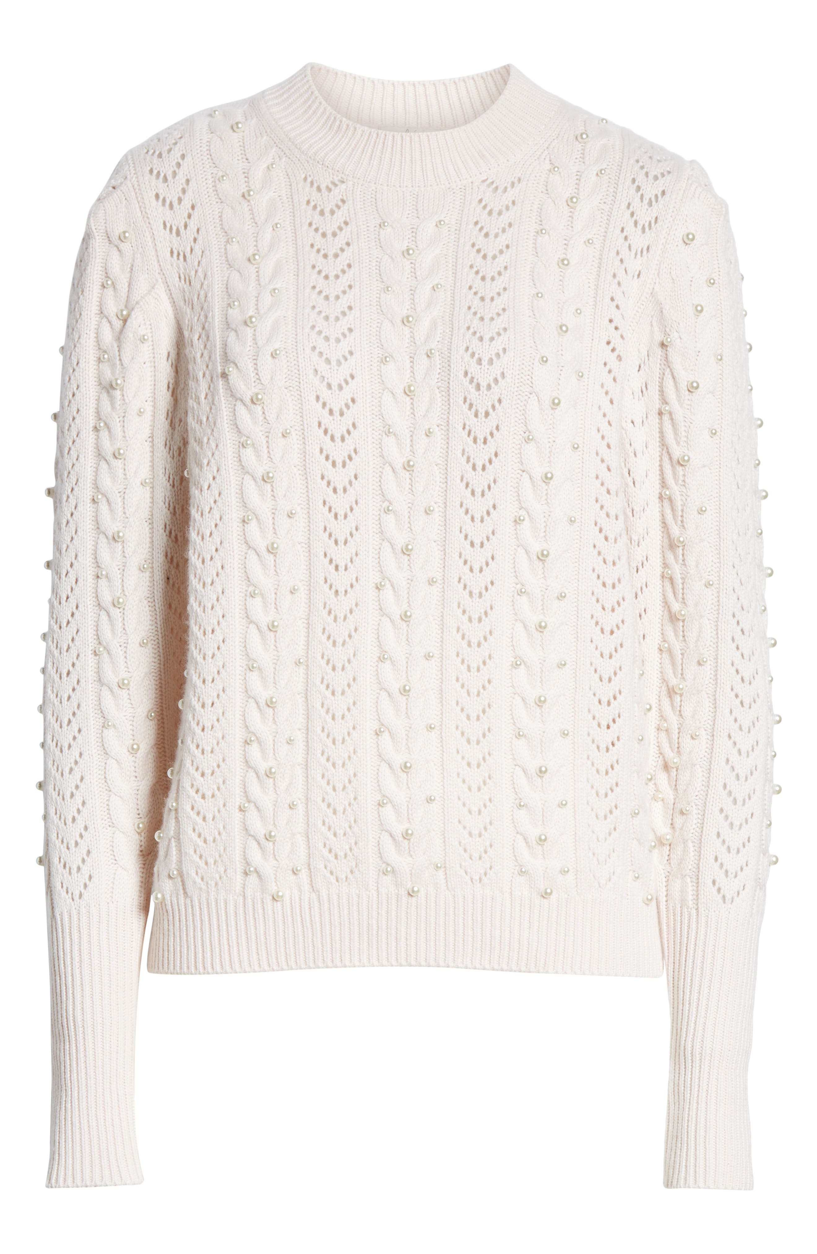 Tinala Faux Pearl Detail Cable Sweater,                             Alternate thumbnail 6, color,                             ANTIQUE WHITE