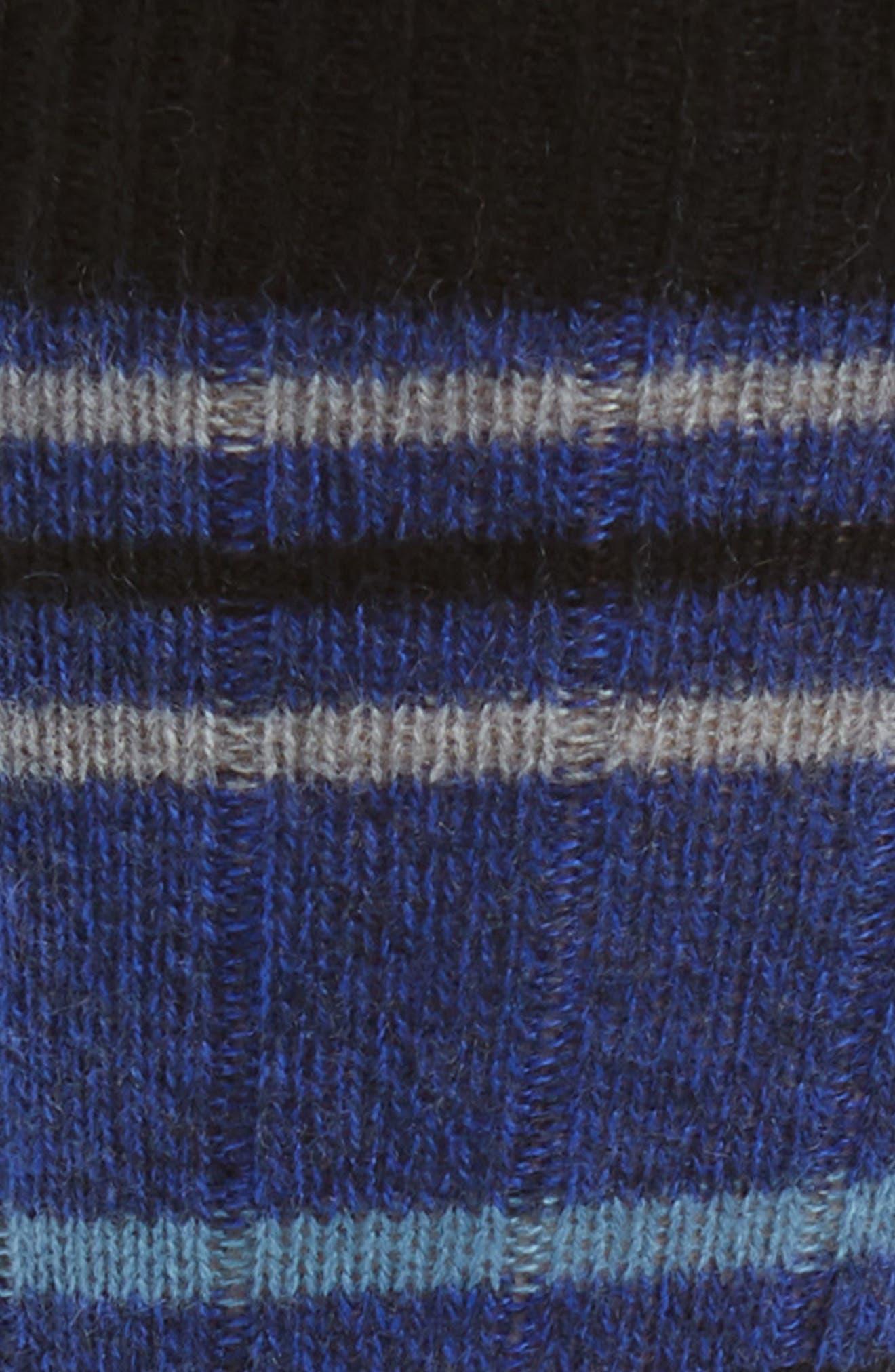 Stripe Cashmere Blend Socks,                             Alternate thumbnail 2, color,                             ROYAL DENIM