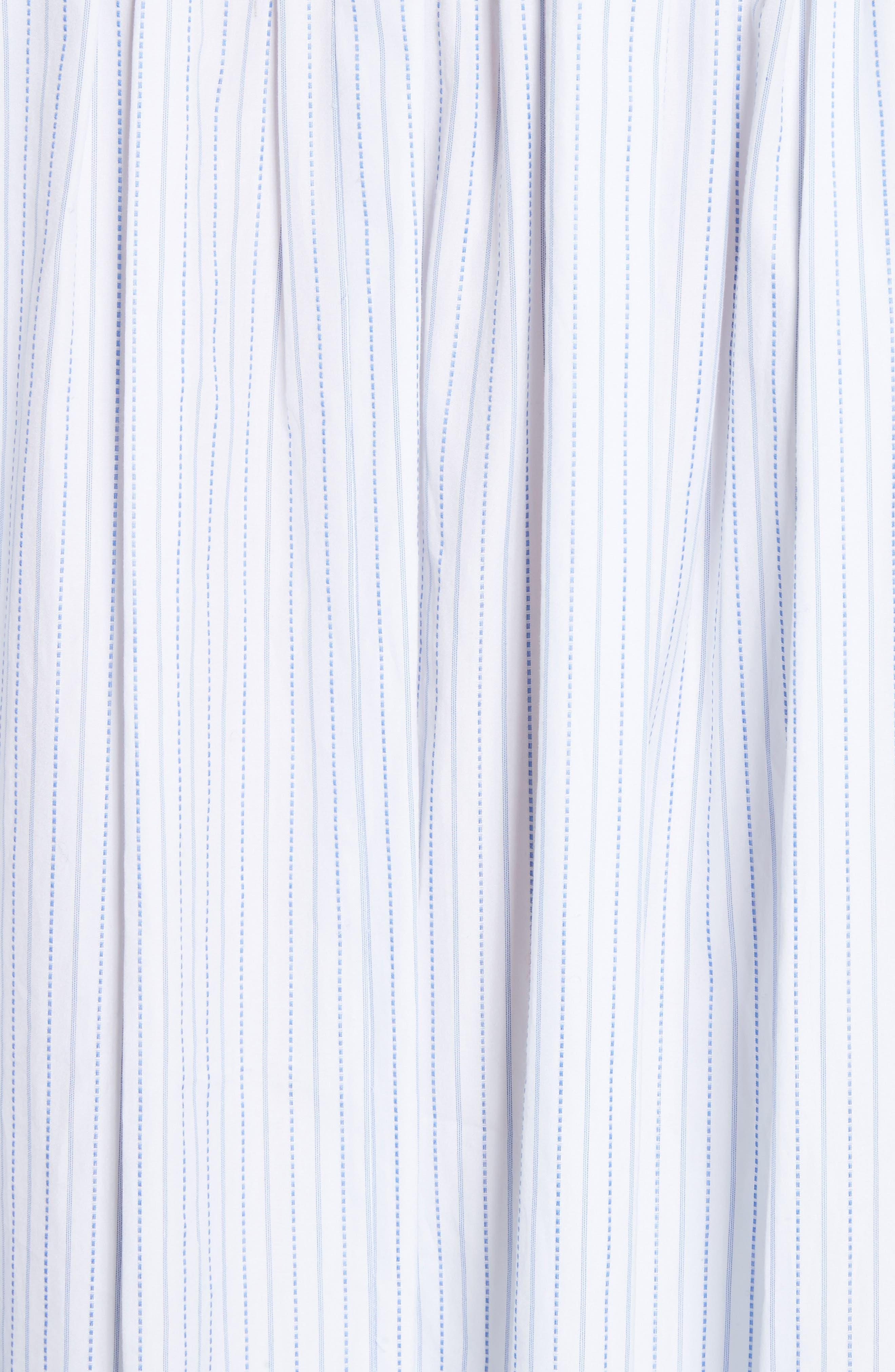 High/Low Stripe Cotton Poplin Shirt,                             Alternate thumbnail 5, color,                             110