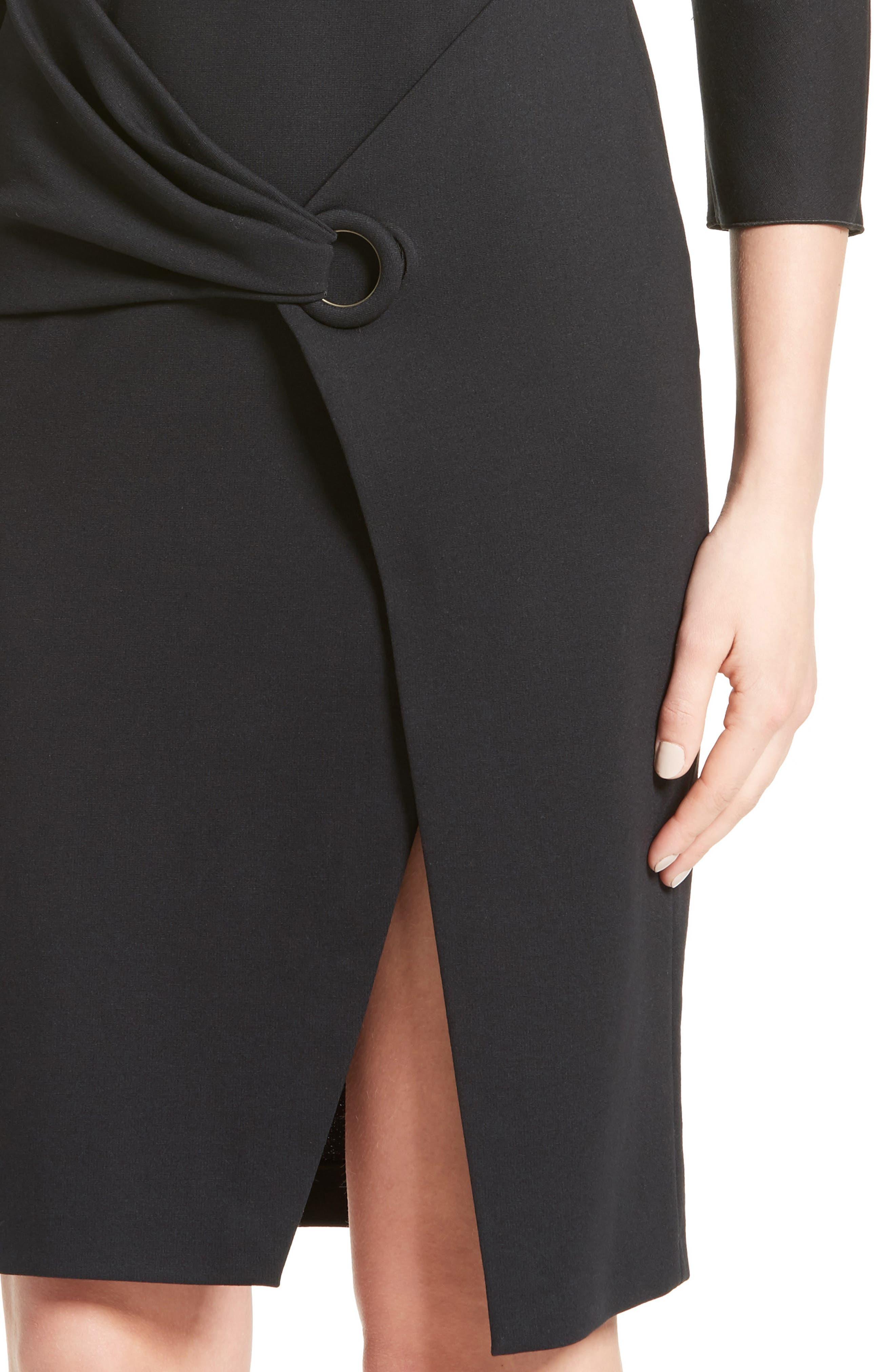 Grommet Detail Milano Jersey Dress,                             Alternate thumbnail 4, color,                             001