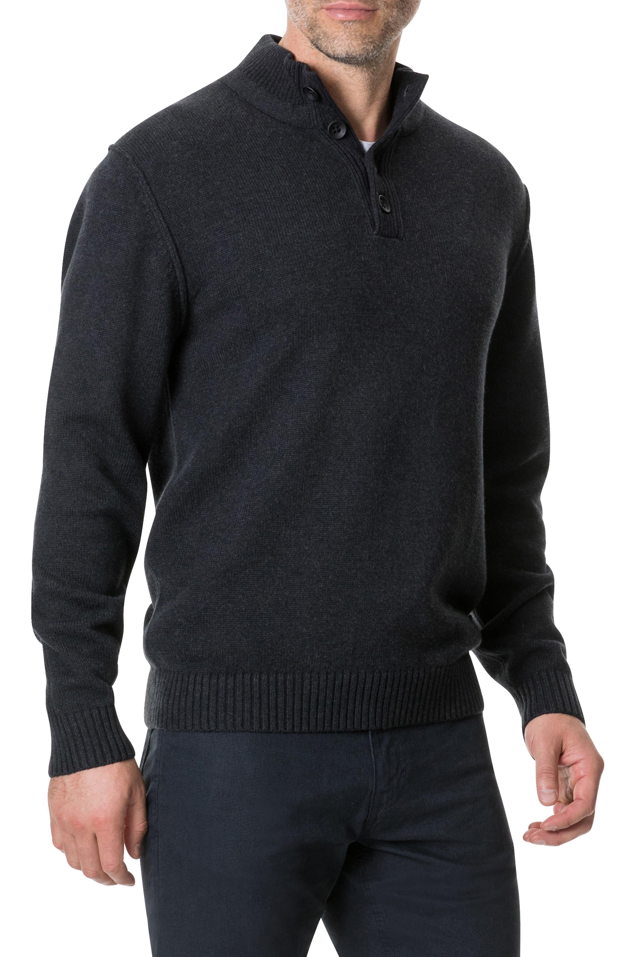 Kent Terrace Quarter Button Sweater,                             Alternate thumbnail 3, color,                             CHARCOAL