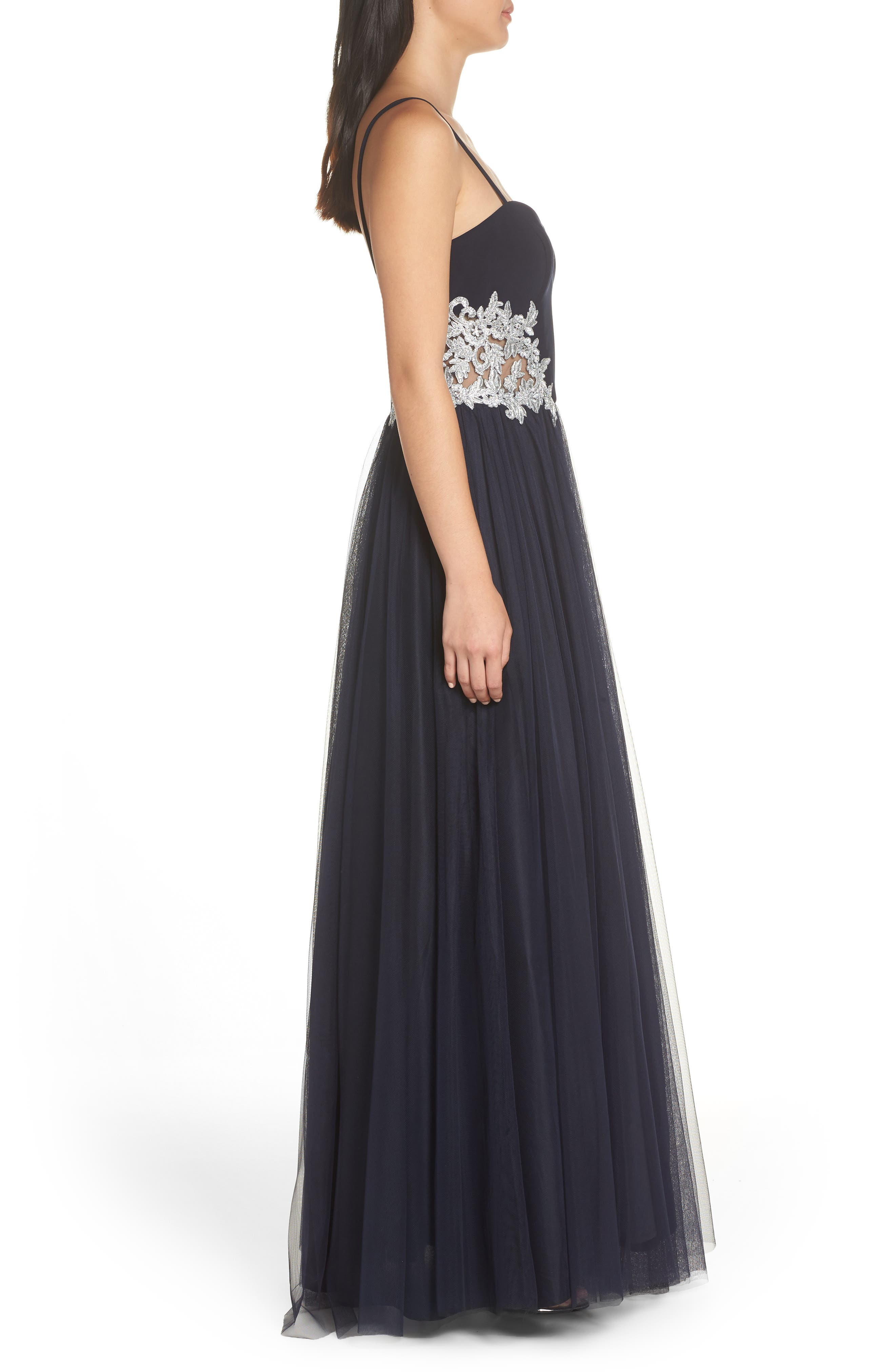 Blondie Nights Embellished Tulle Gown,                             Alternate thumbnail 3, color,                             NAVY/ SILVER