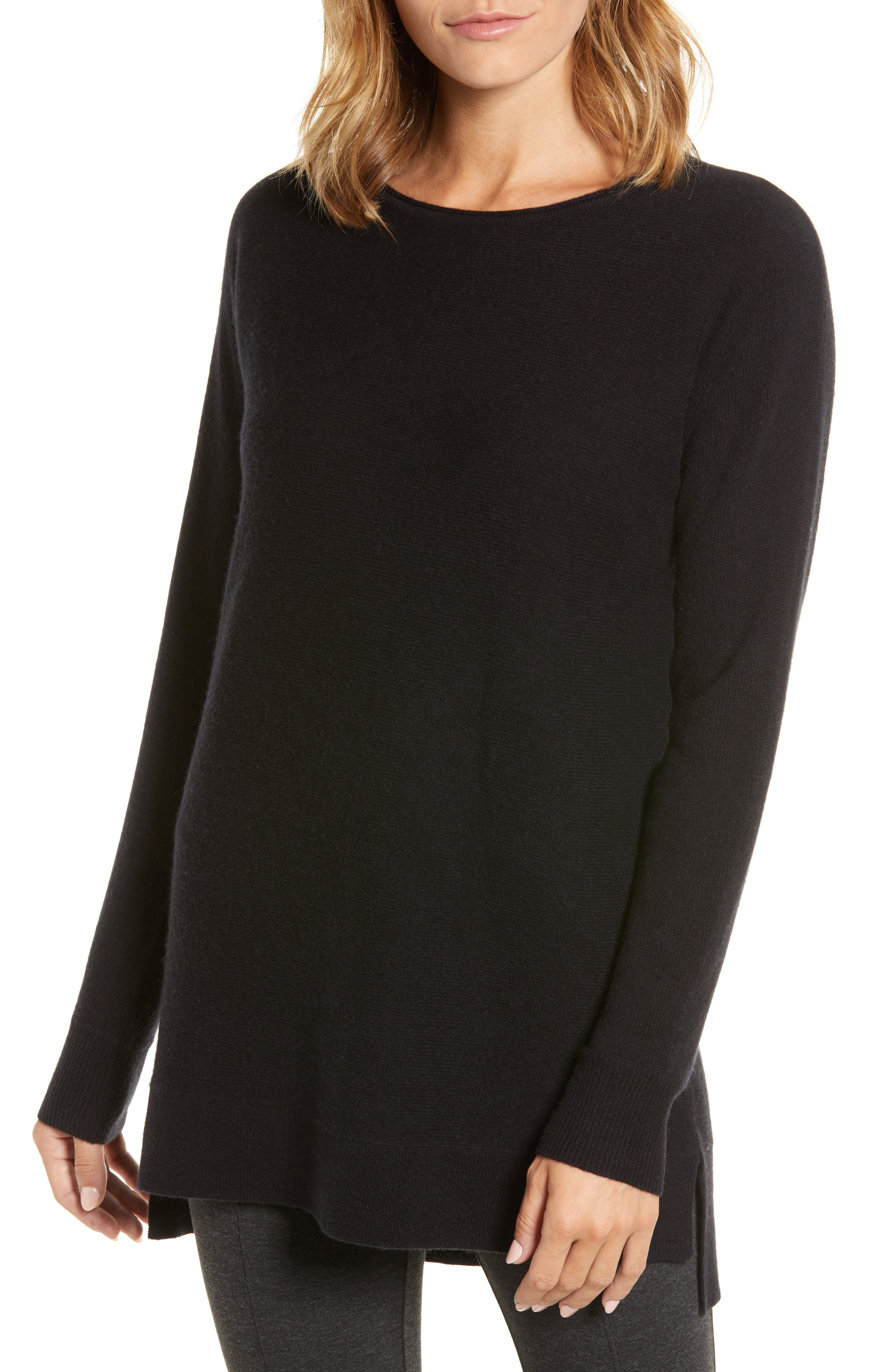 Halogen High/low Wool & Cashmere Tunic Sweater, Black