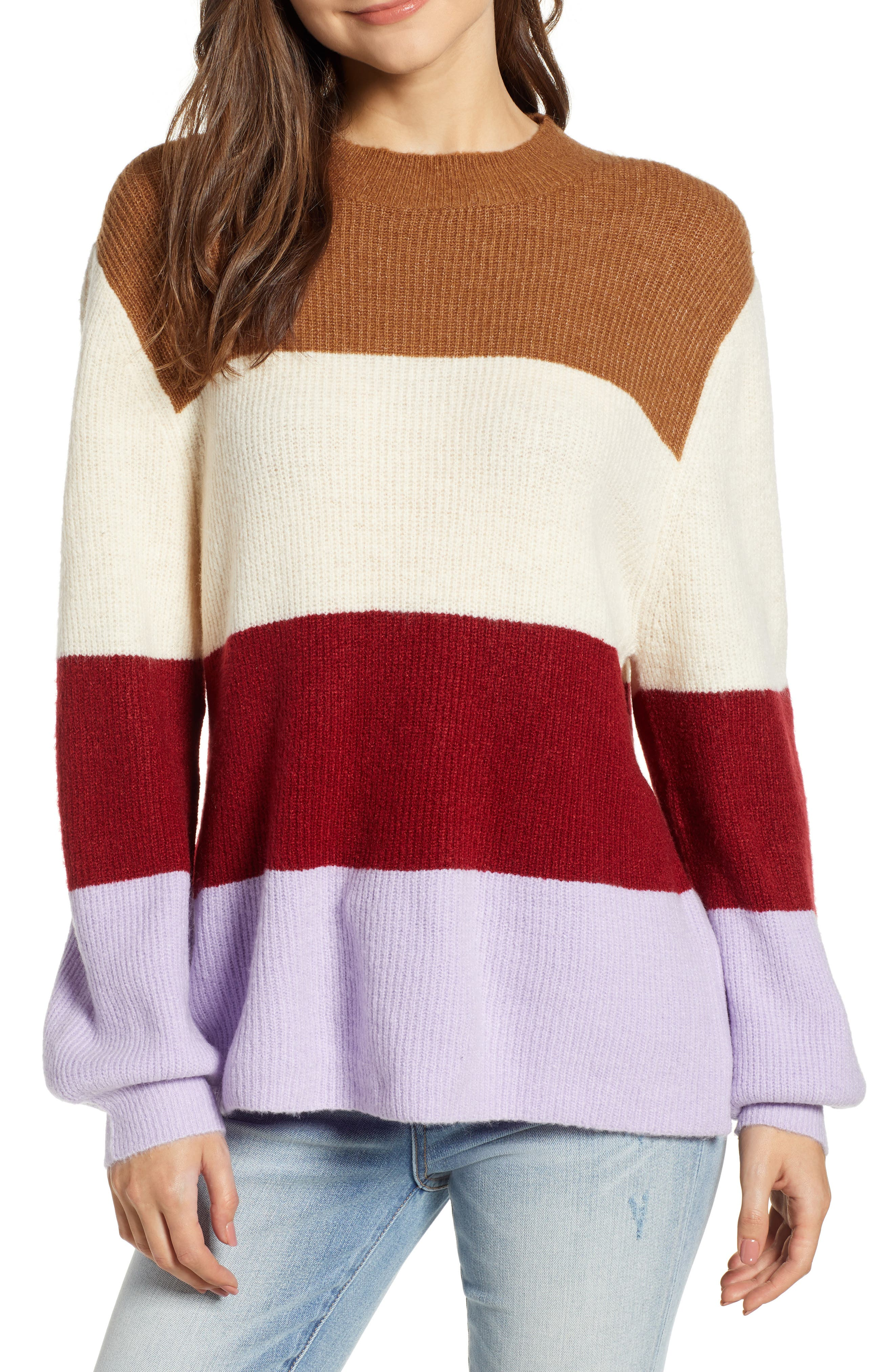 MOON RIVER Stripe Sweater in Lavender Stripe