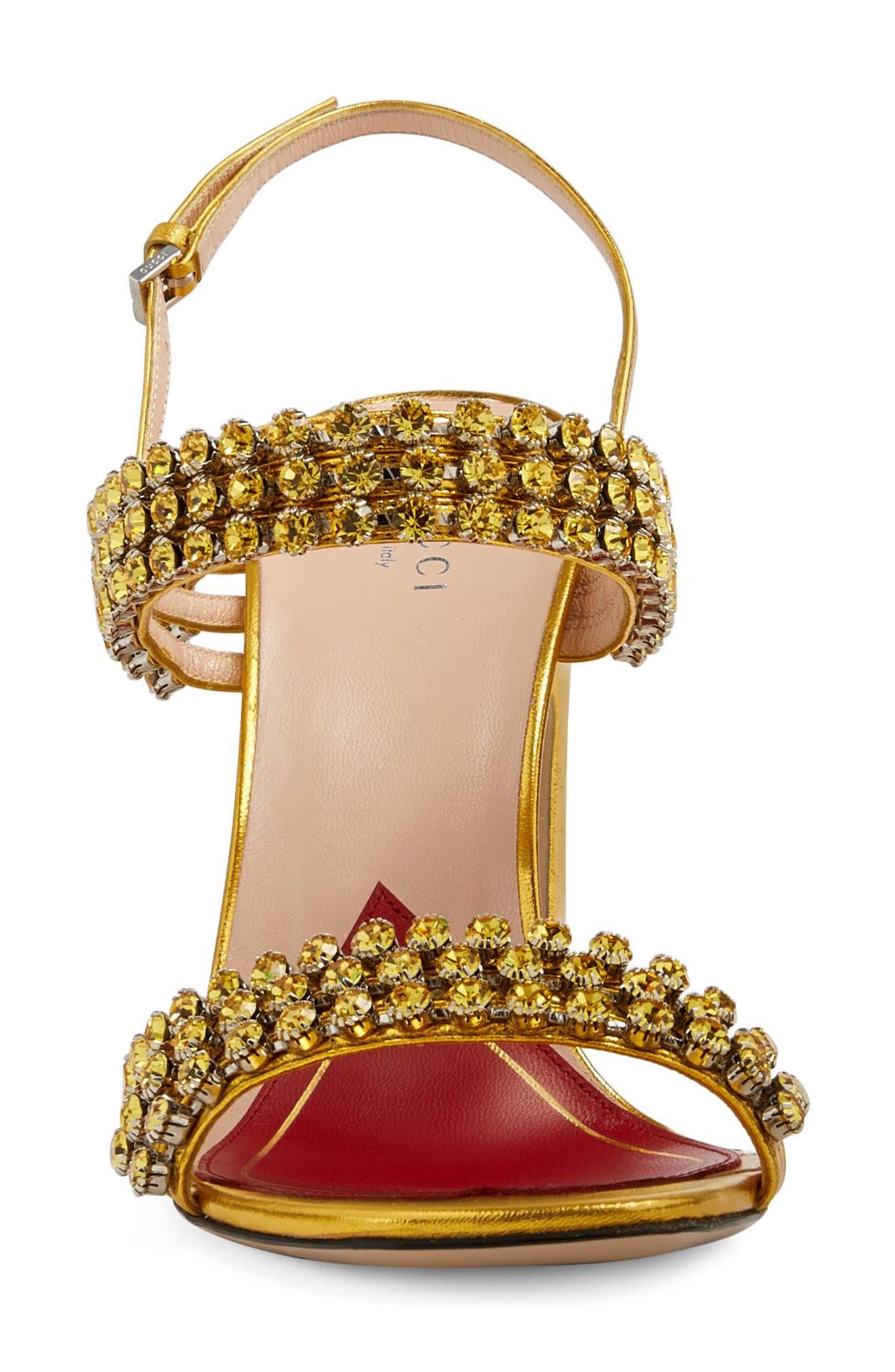 Bertie Jewel Sandal,                             Alternate thumbnail 3, color,                             GOLD LEATHER