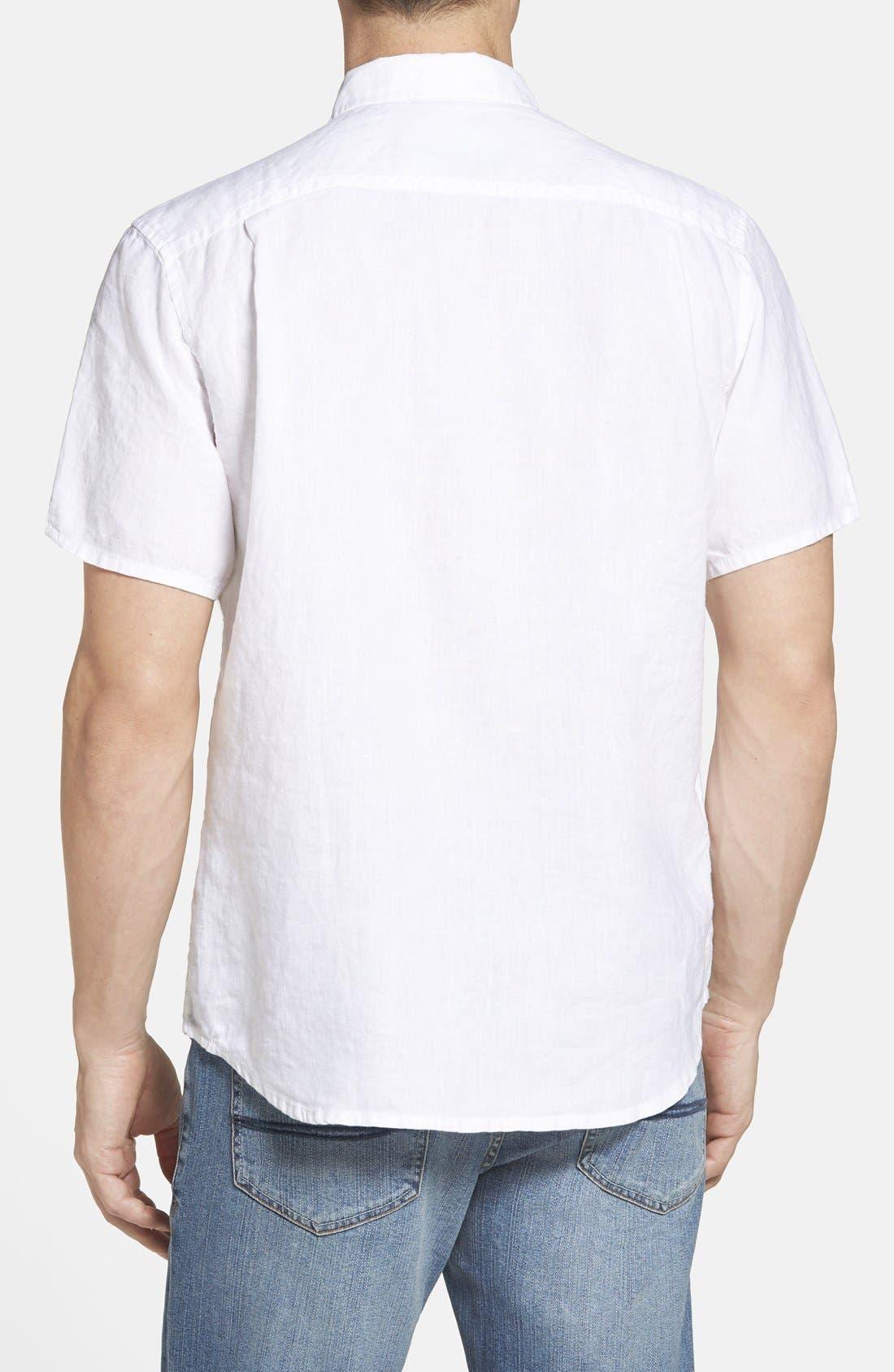 Seaglass Breezer Short Sleeve Linen Sport Shirt,                             Alternate thumbnail 2, color,                             100