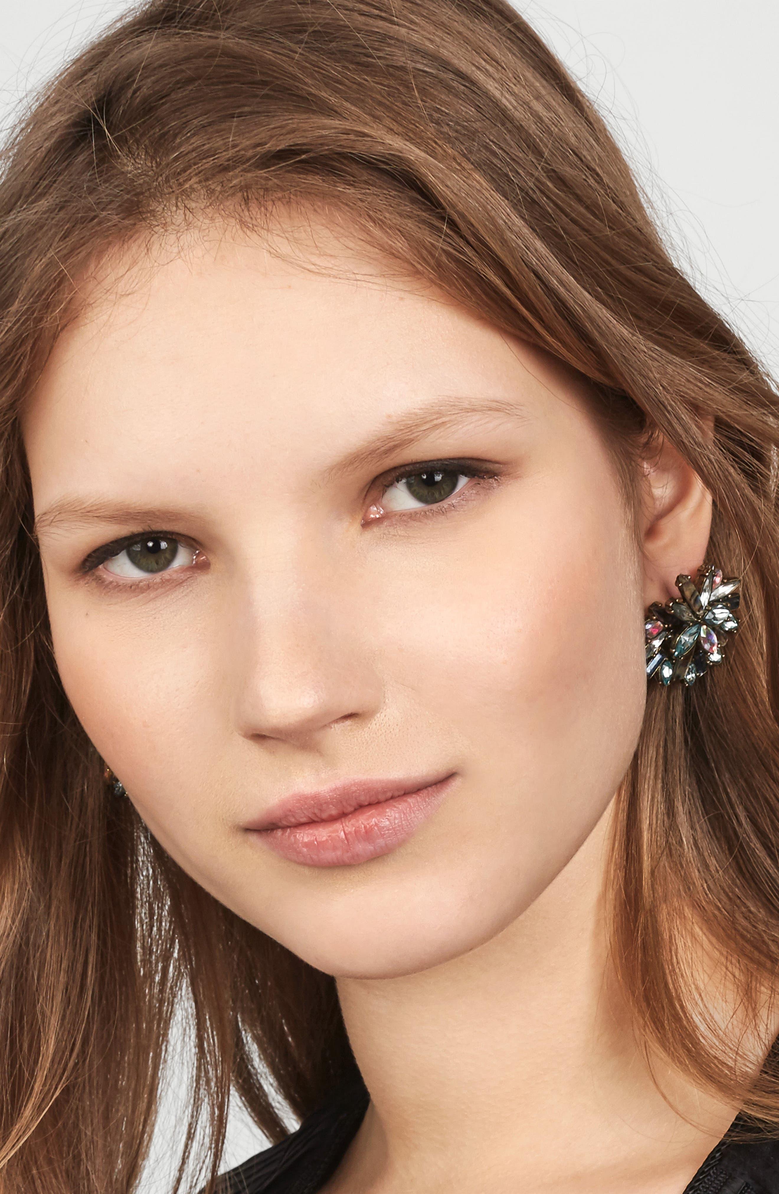 Zaffre Crystal Cluster Stud Earrings,                             Alternate thumbnail 2, color,                             400