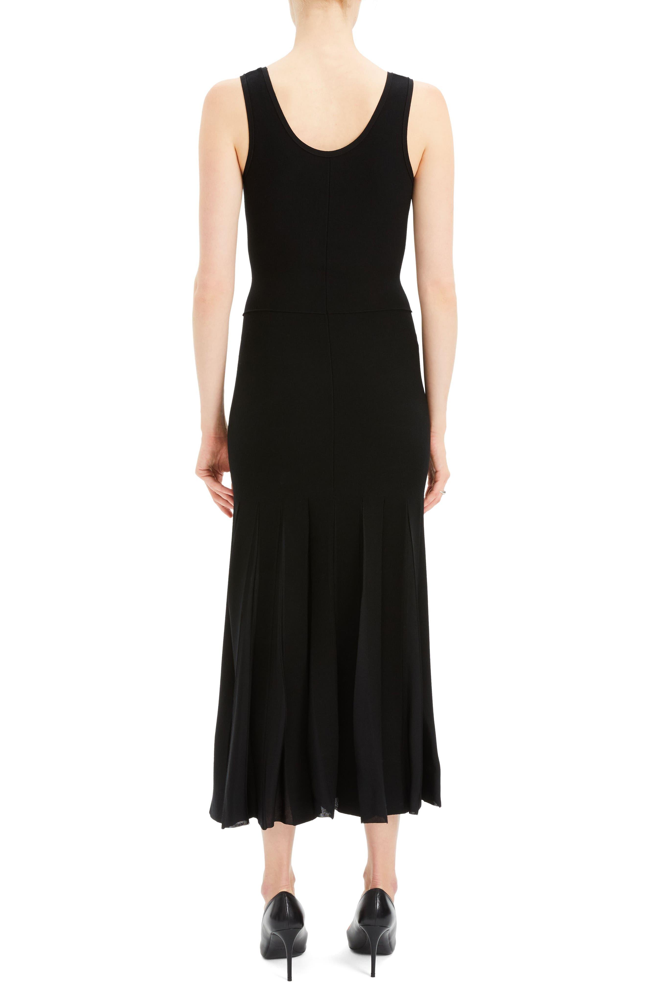 Pleated Tank Dress,                             Alternate thumbnail 2, color,                             BLACK/ BLACK