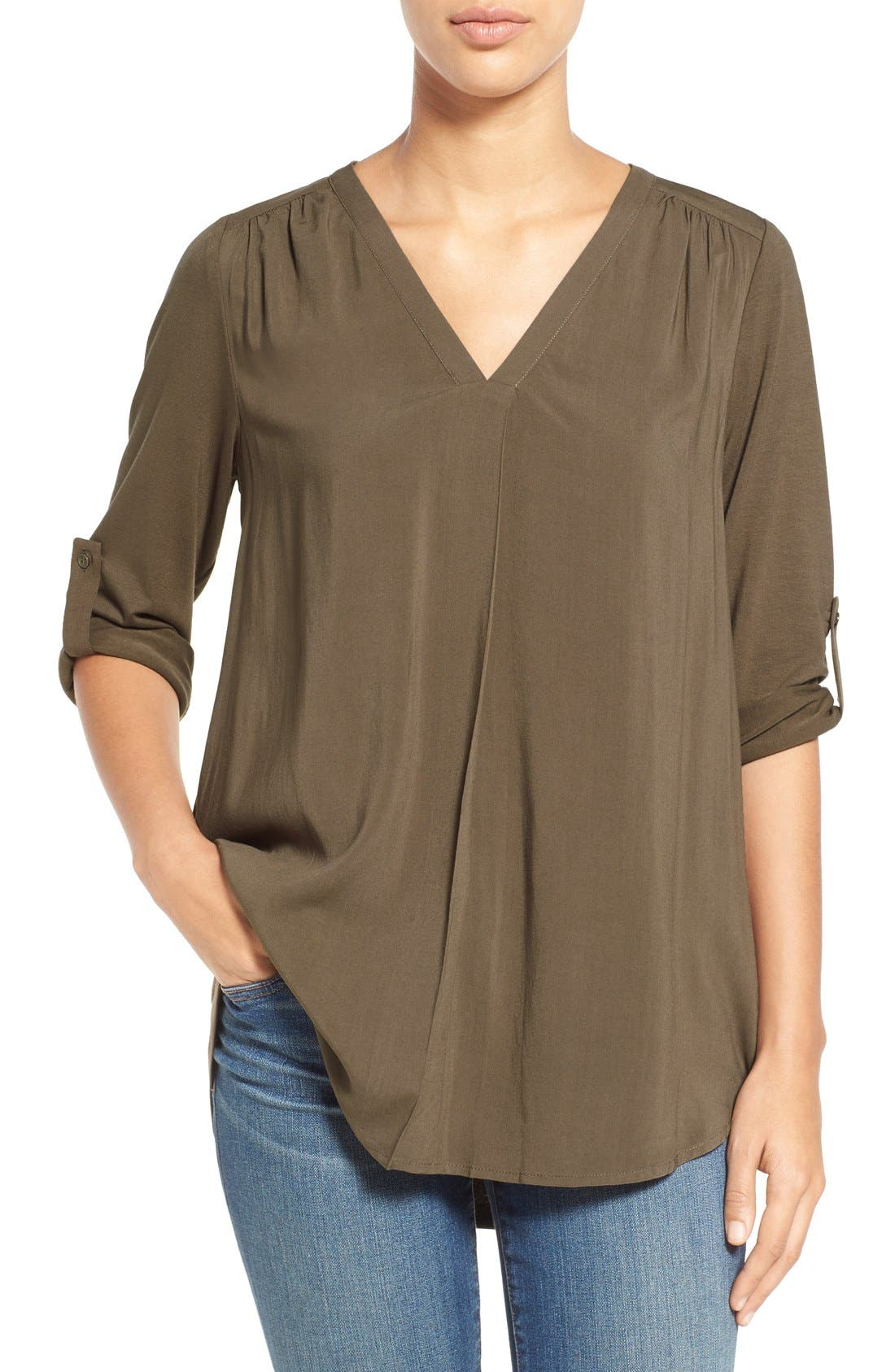 Mixed Media V-Neck Tunic,                             Main thumbnail 6, color,