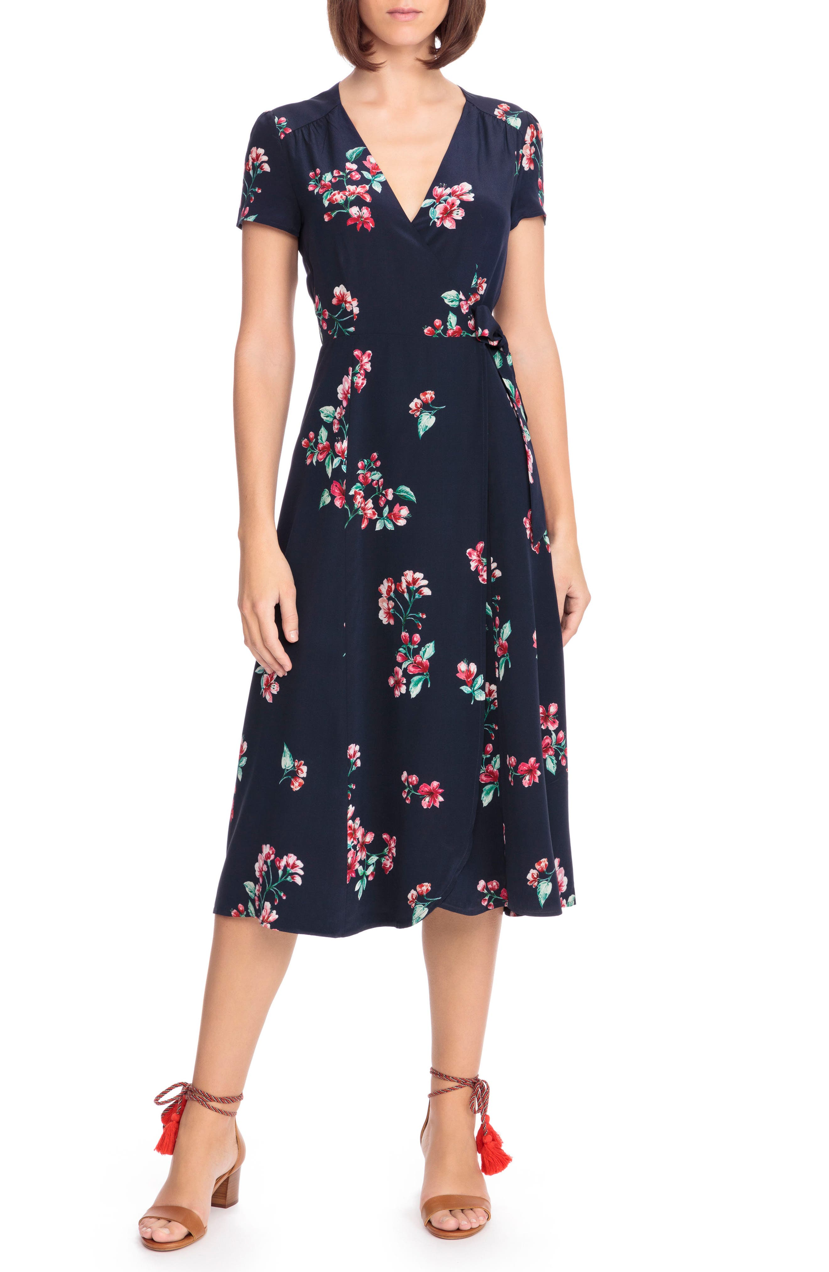 Amber Floral Silk Wrap Dress, Main, color, 400