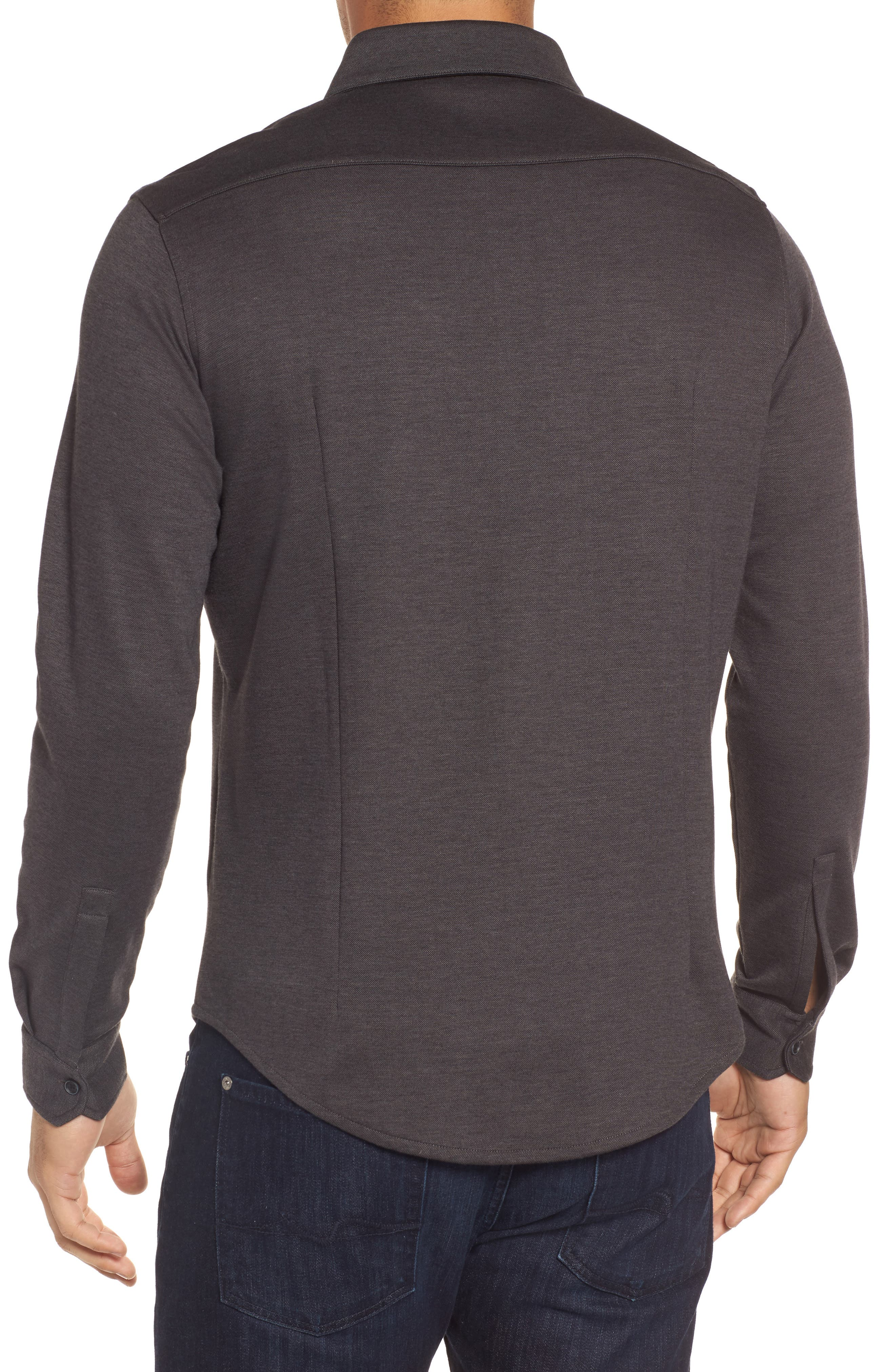 Classic Fit Heathered Knit Sport Shirt,                             Alternate thumbnail 2, color,                             020