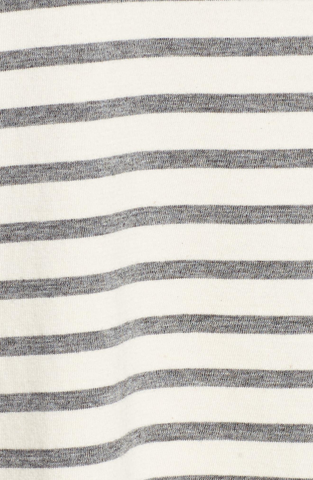 Retreat Stripe Cotton Shift Dress,                             Alternate thumbnail 5, color,                             100