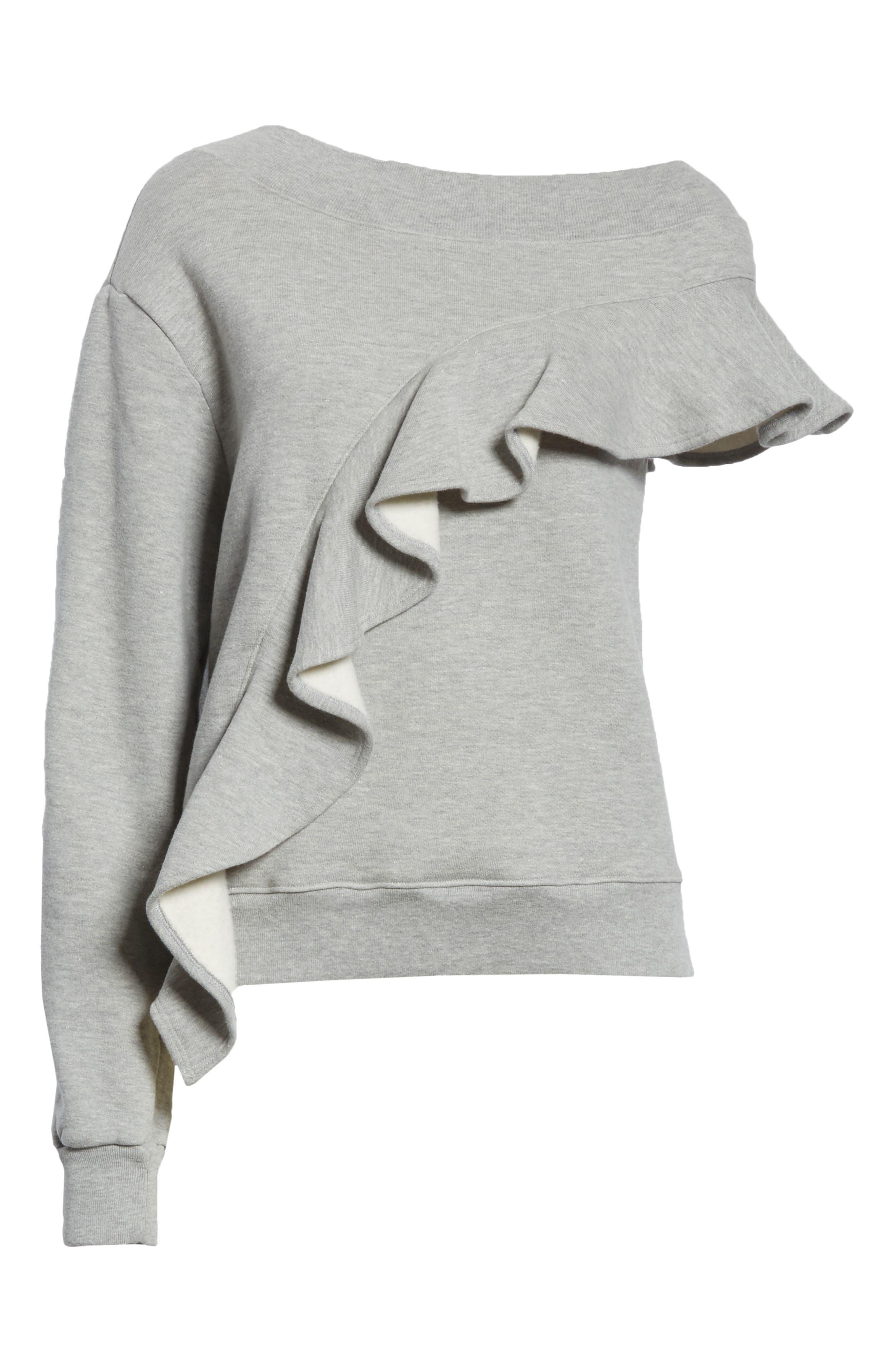 Asymmetrical Ruffle Sweatshirt,                             Alternate thumbnail 6, color,                             060