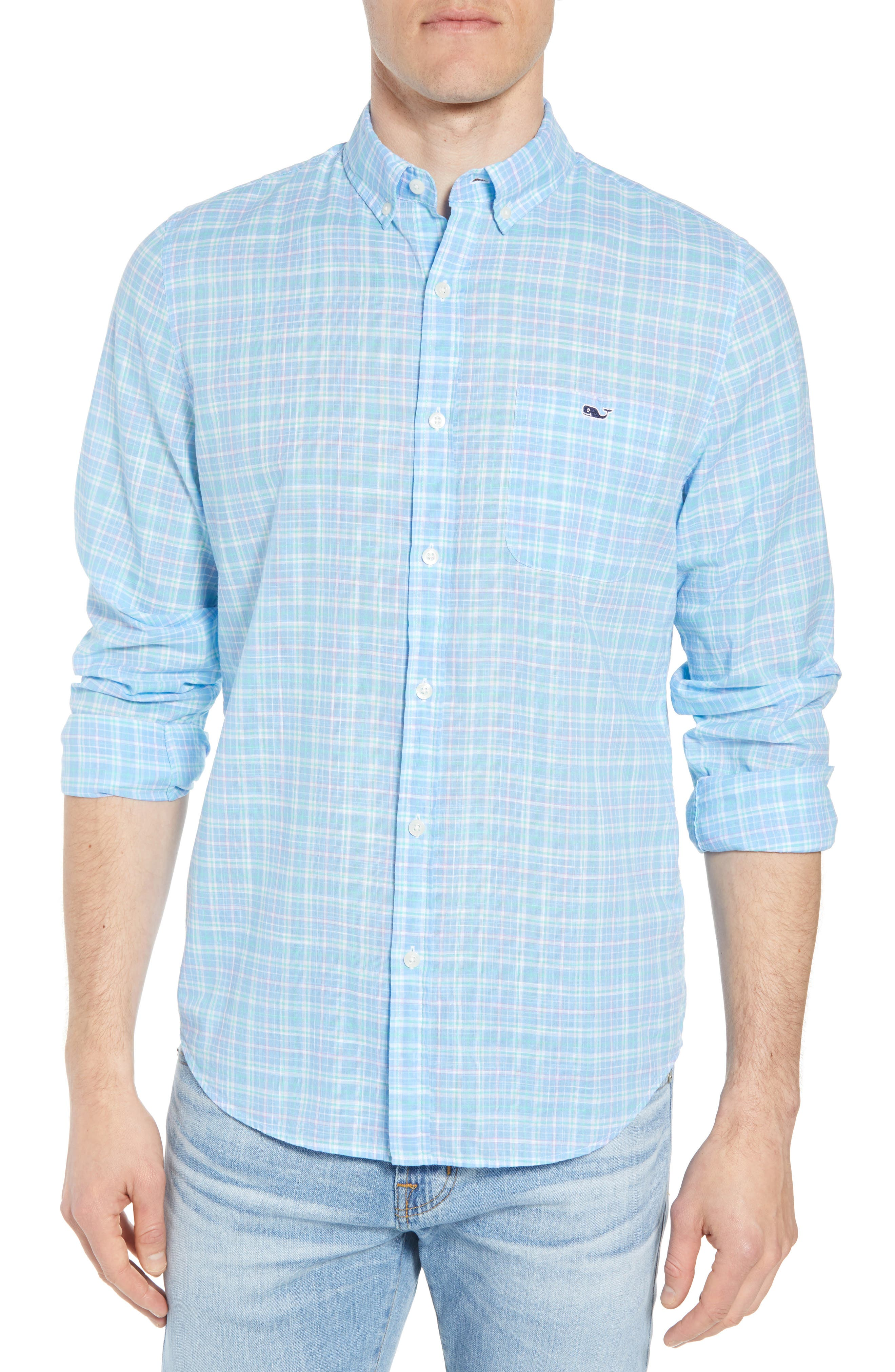 Stoney Hill Tucker Classic Fit Plaid Sport Shirt,                         Main,                         color, 415