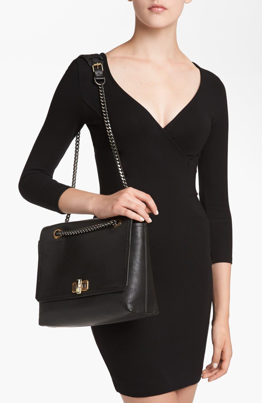 LANVIN,                             'Happy - Medium' Leather Flap Shoulder Bag,                             Alternate thumbnail 3, color,                             001
